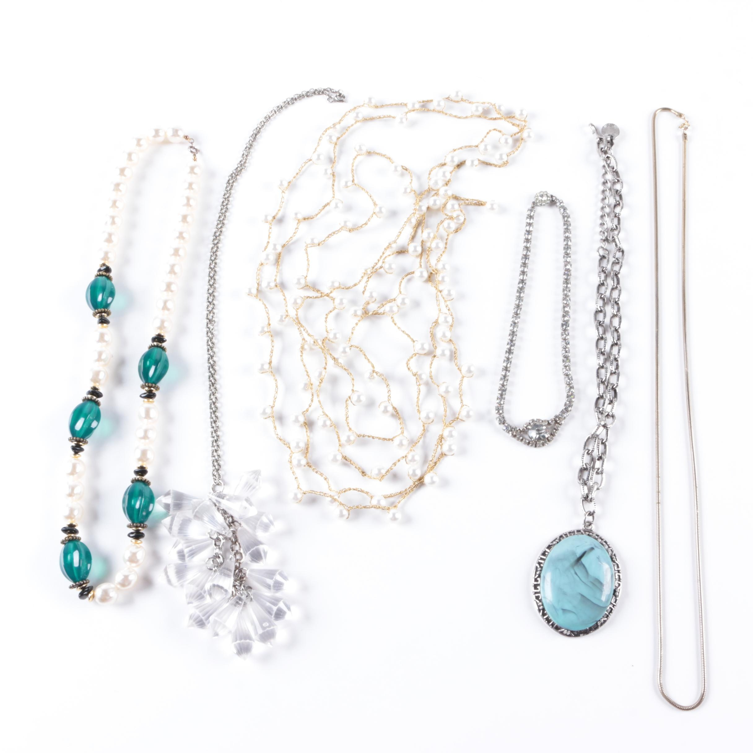 Selection of Costume Necklaces Including Rhinestones