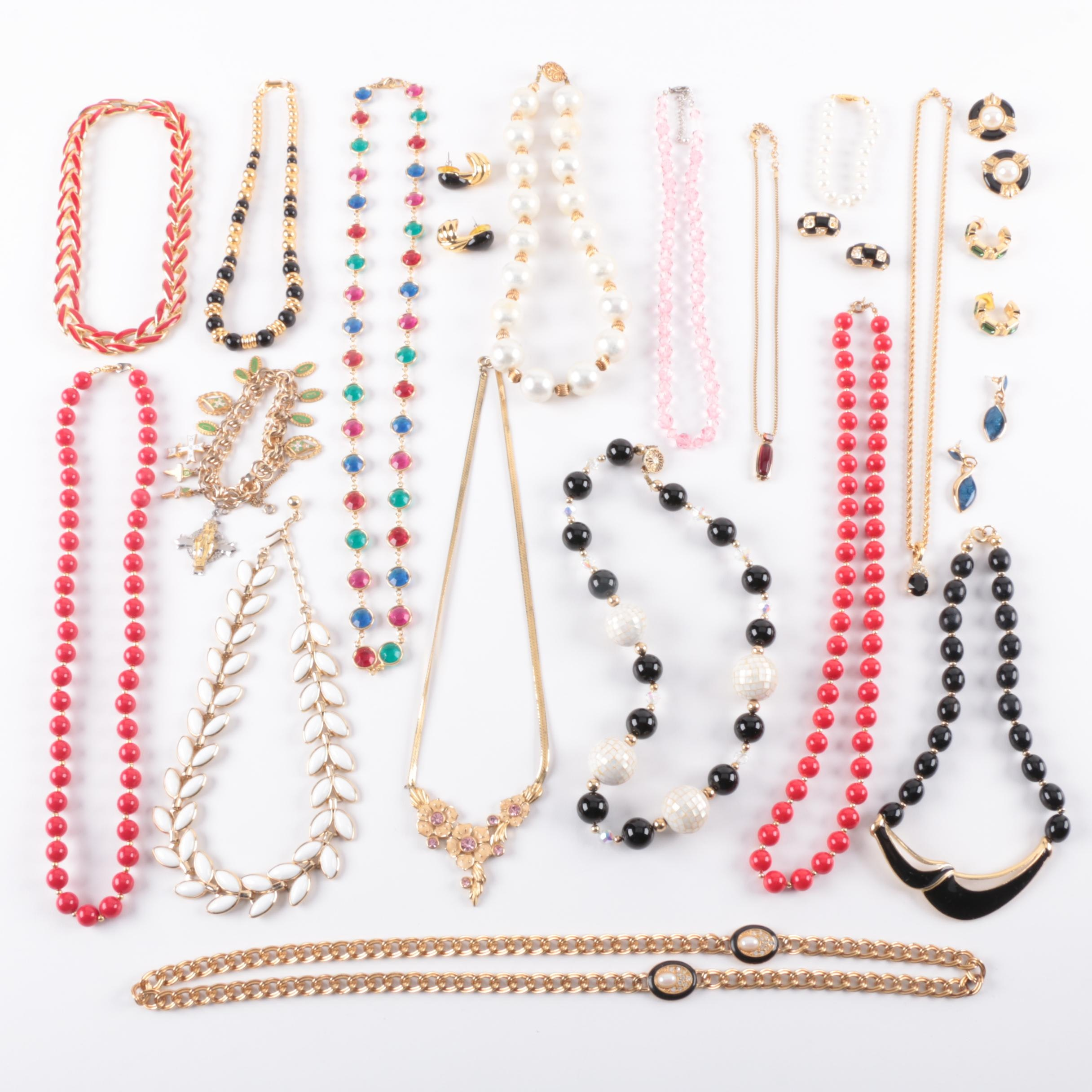 Beaded Costume Jewelry Including Two Sterling Silver Necklaces