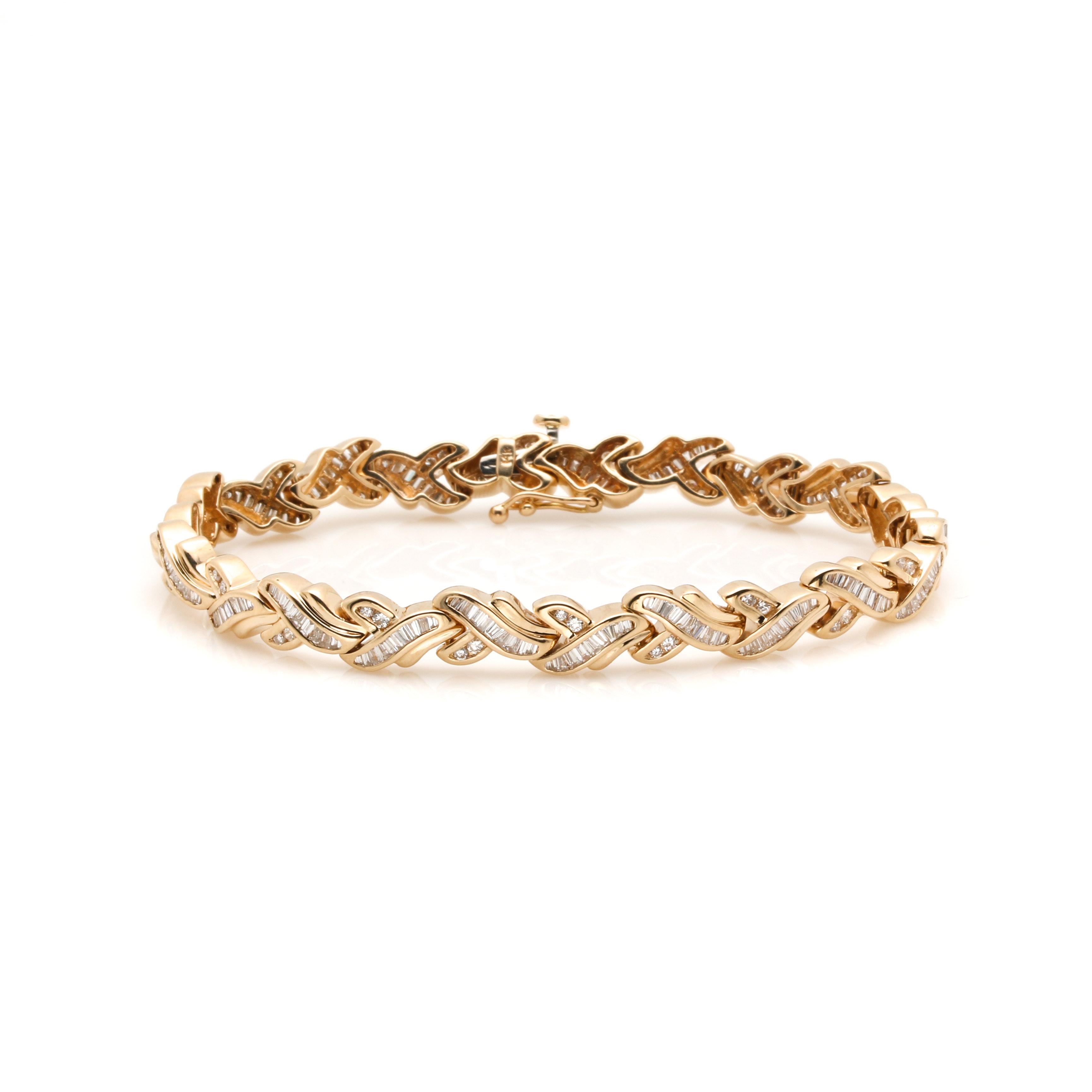 14K Yellow Gold 3.02 CTW Diamond Link Bracelet