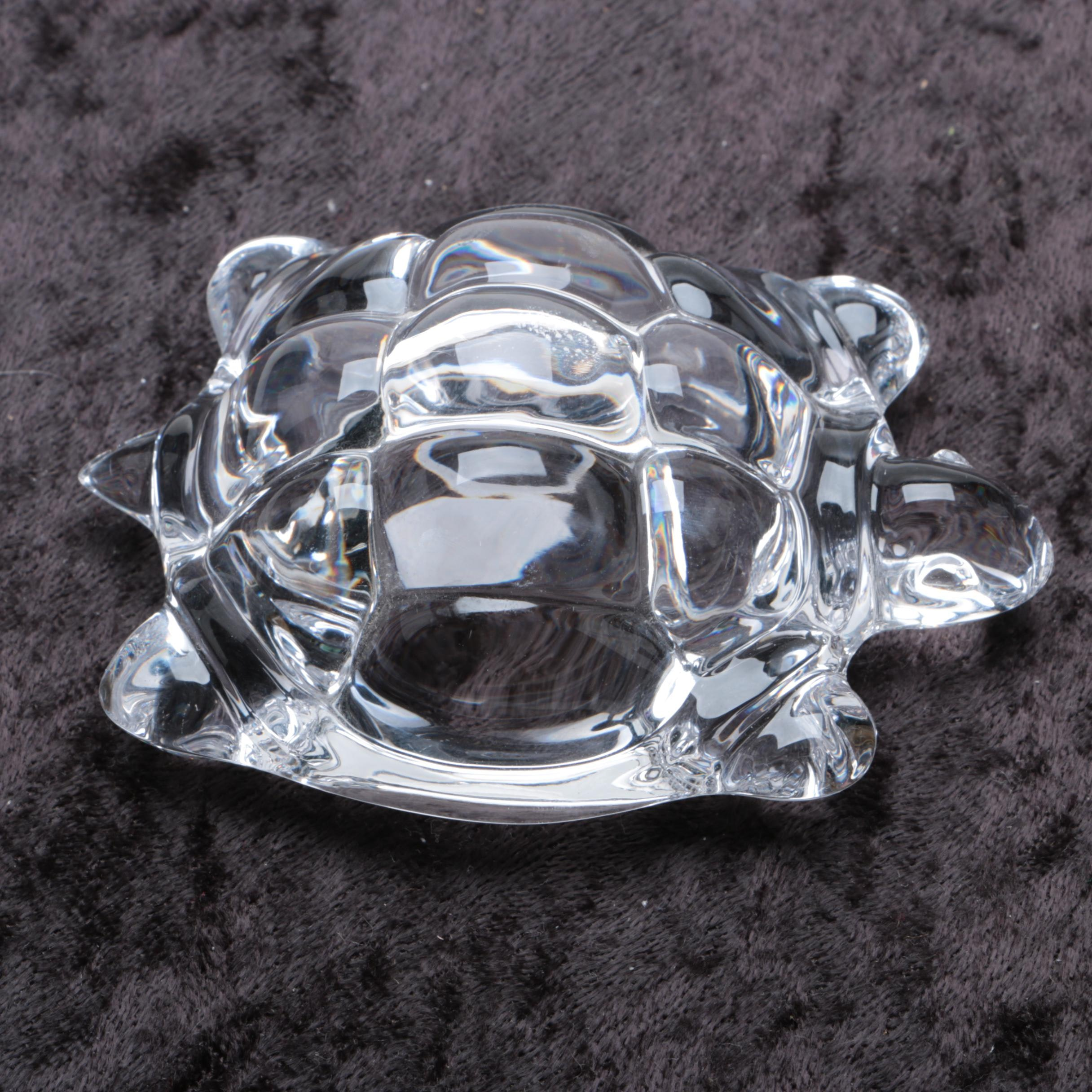 Daum France Crystal Turtle Paperweight