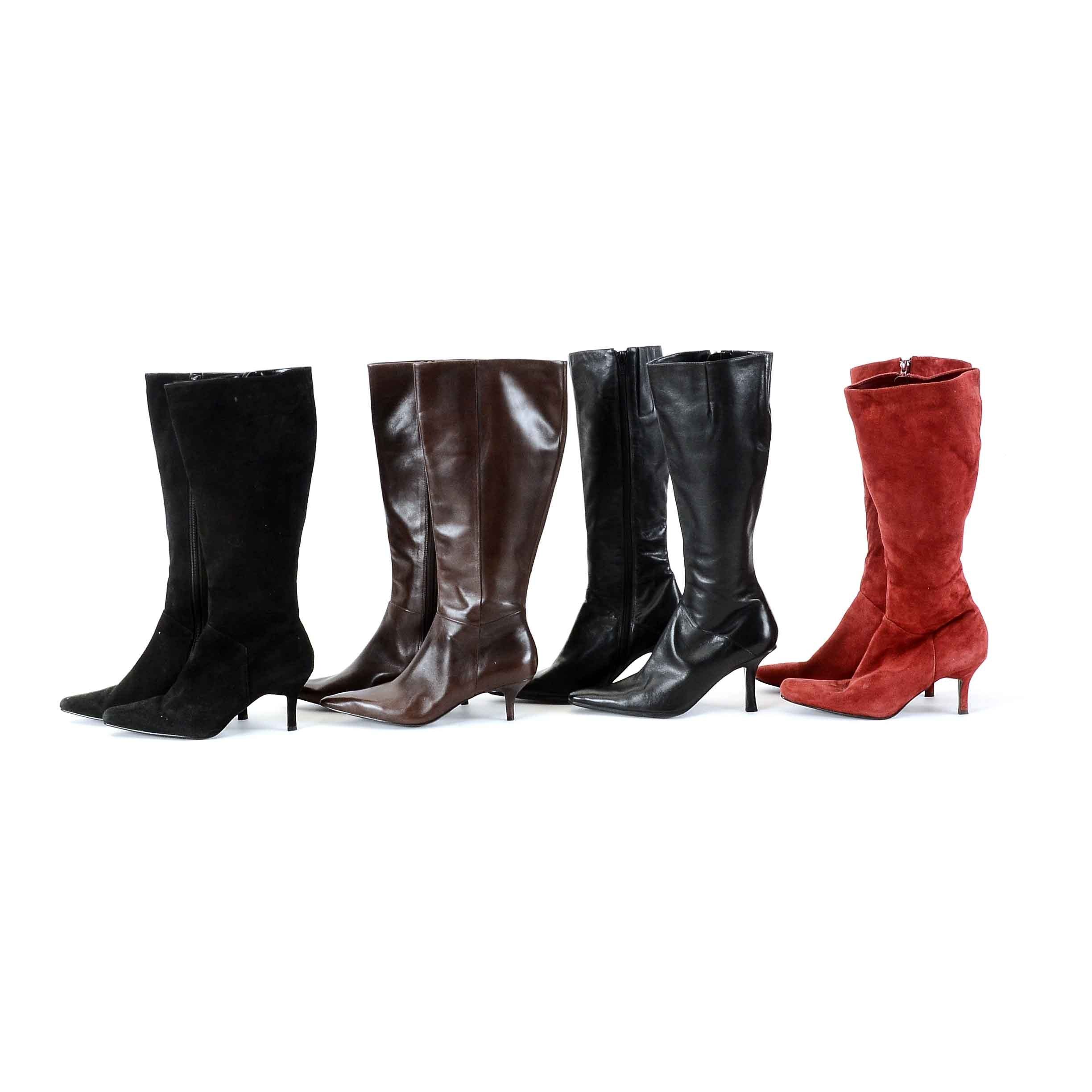 Collection of Women's High Heel Leather and Suede Boots