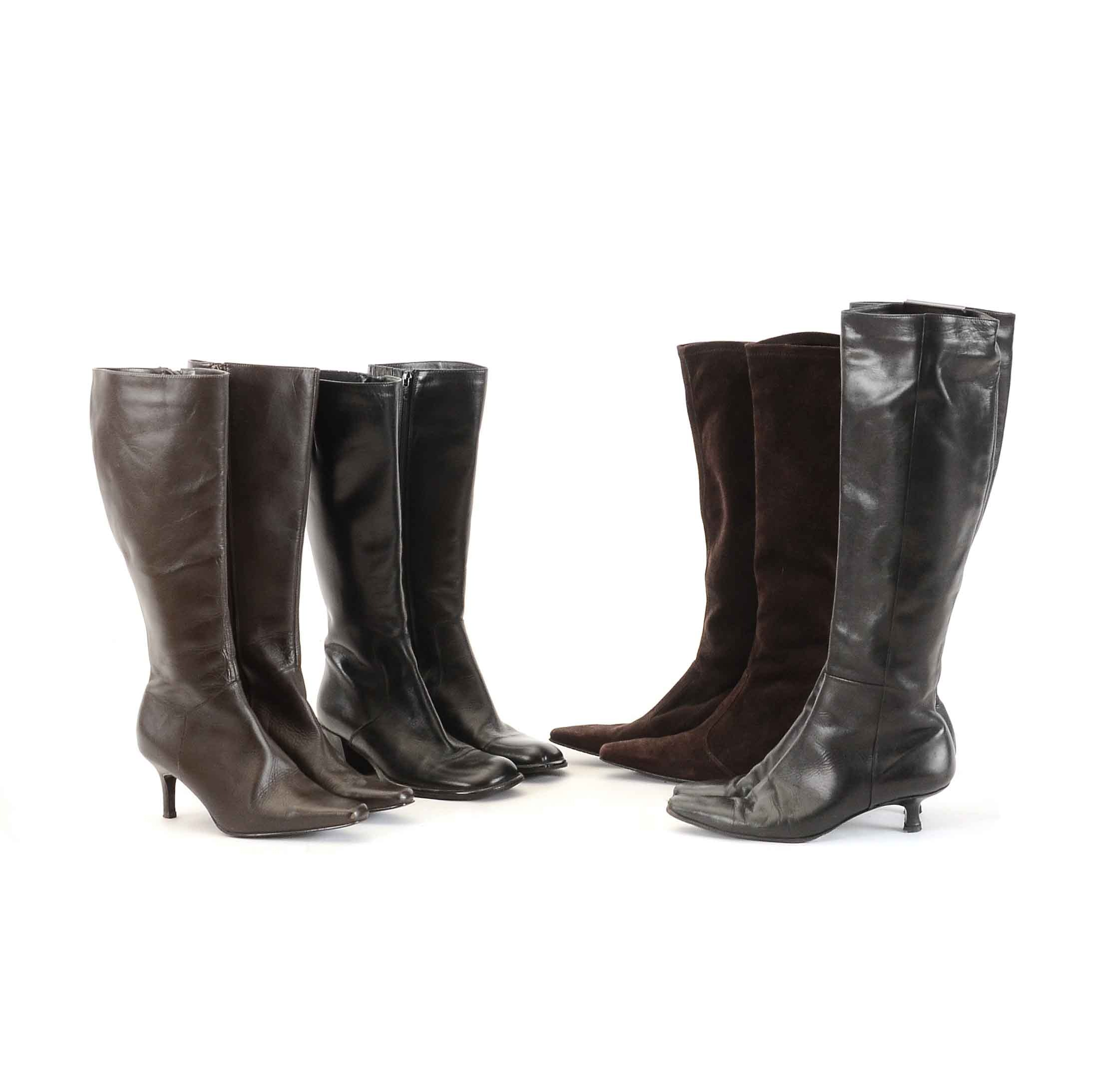 Collection of Women's High Heel Leather Boots including Stuart Weitzman