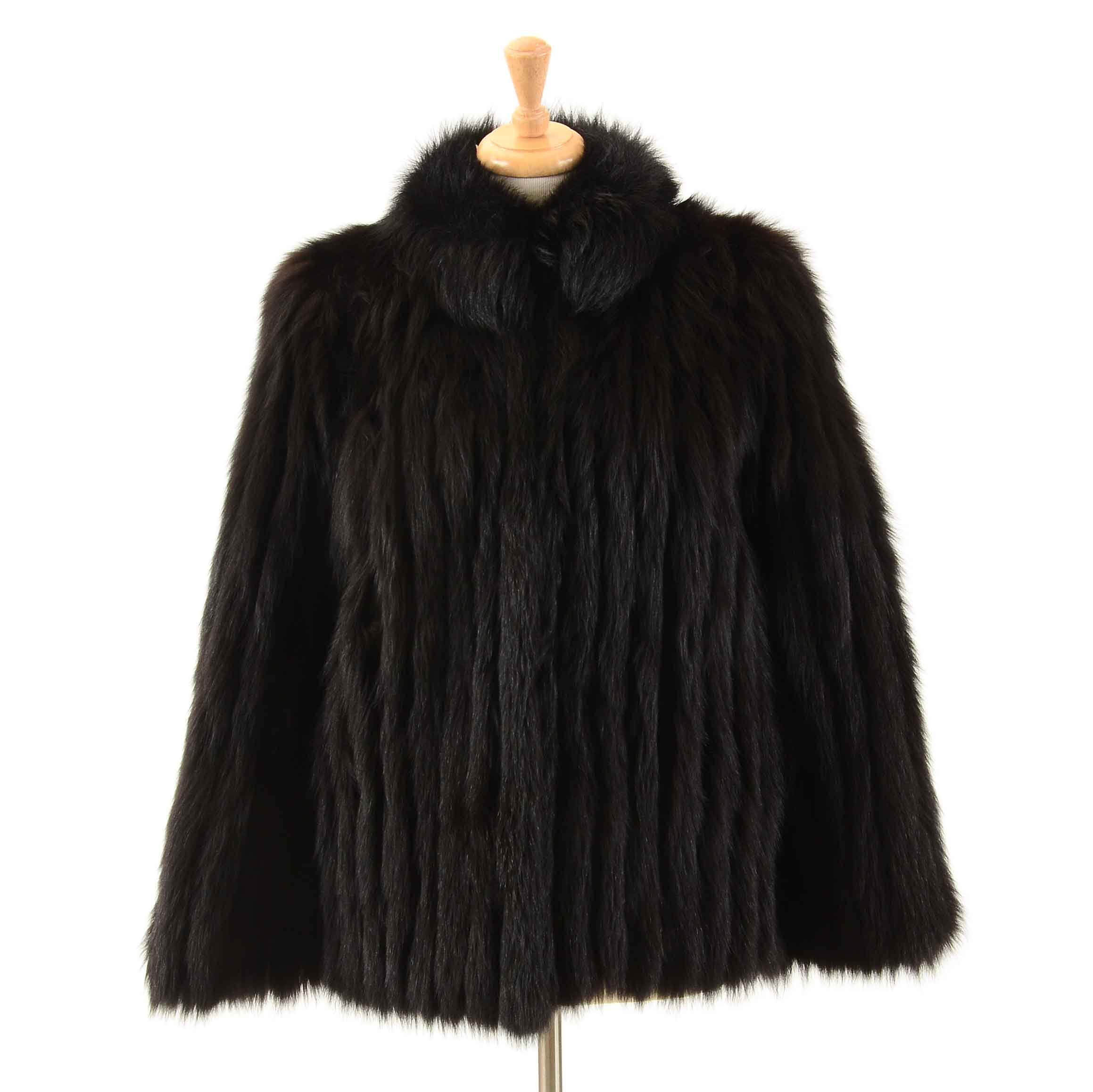 Vintage Saga Fox Dyed Black Fox Fur Coat