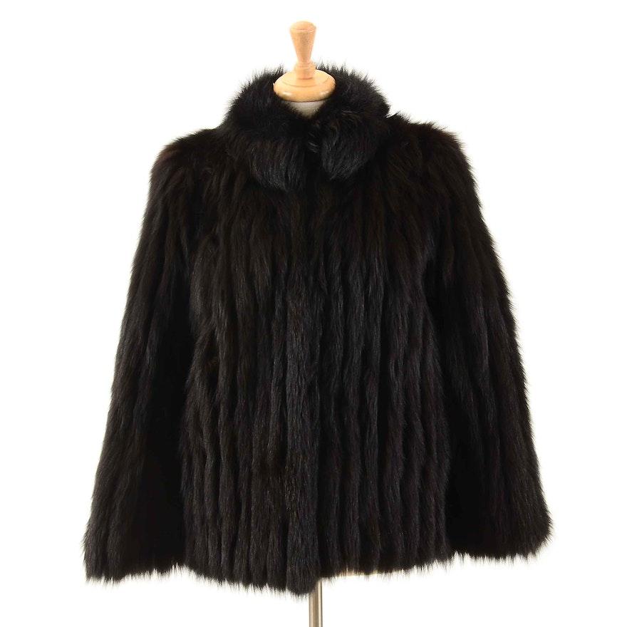 4a98ddde29939 Vintage Saga Fox Dyed Black Fox Fur Coat   EBTH