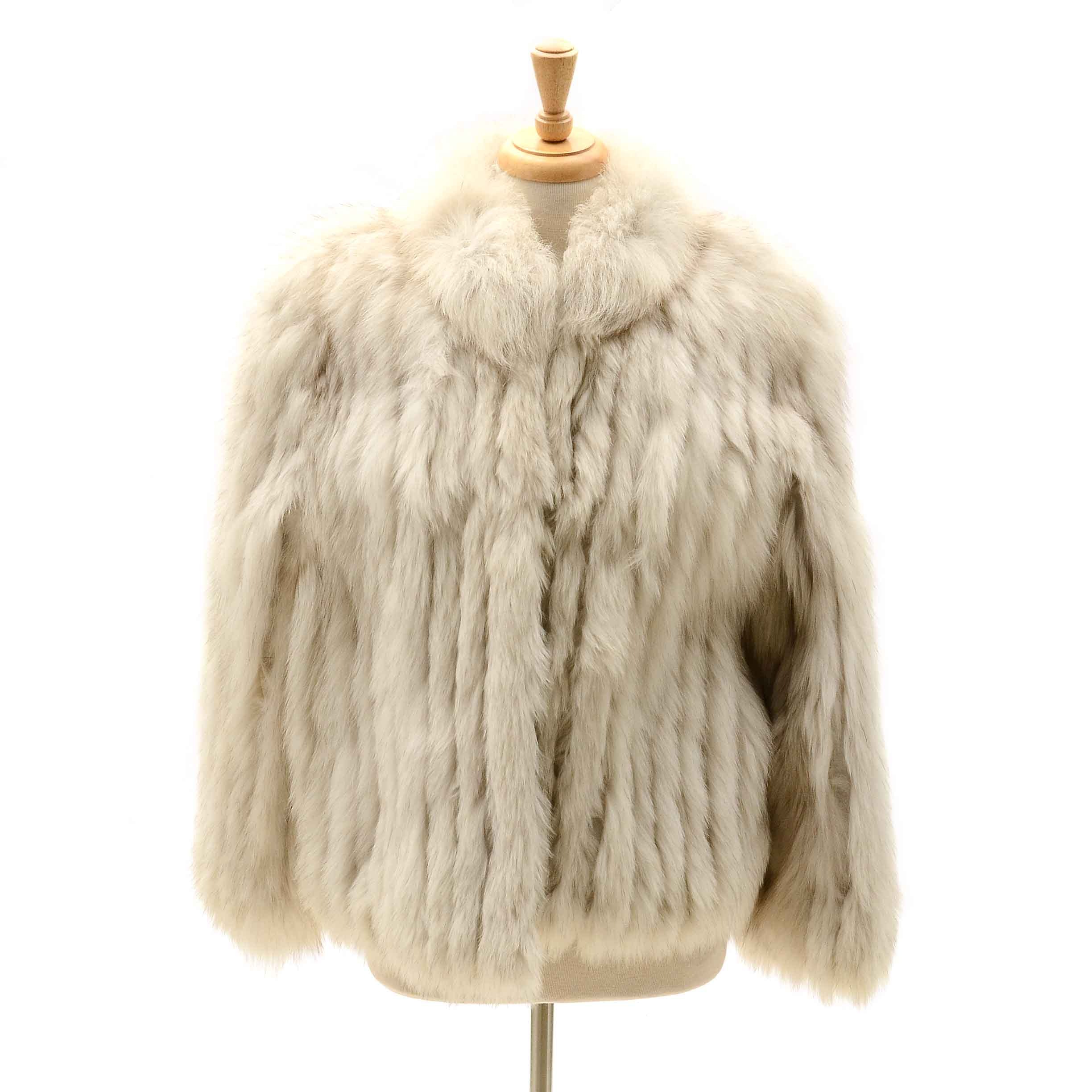 Vintage White Fox Fur Coat