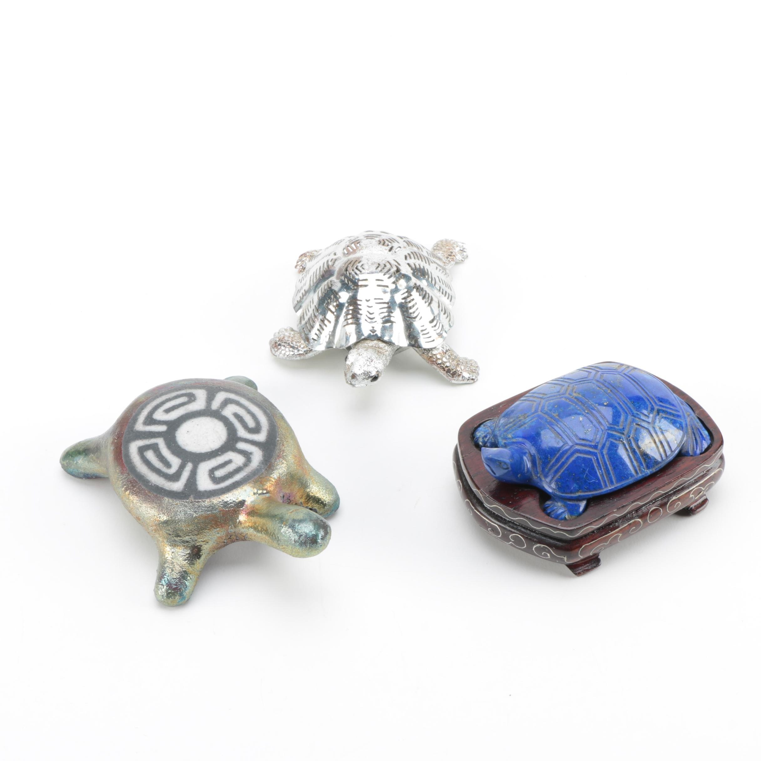 Christofle Silver Plate Turtle Paperweight with Other Turtle Paperweights
