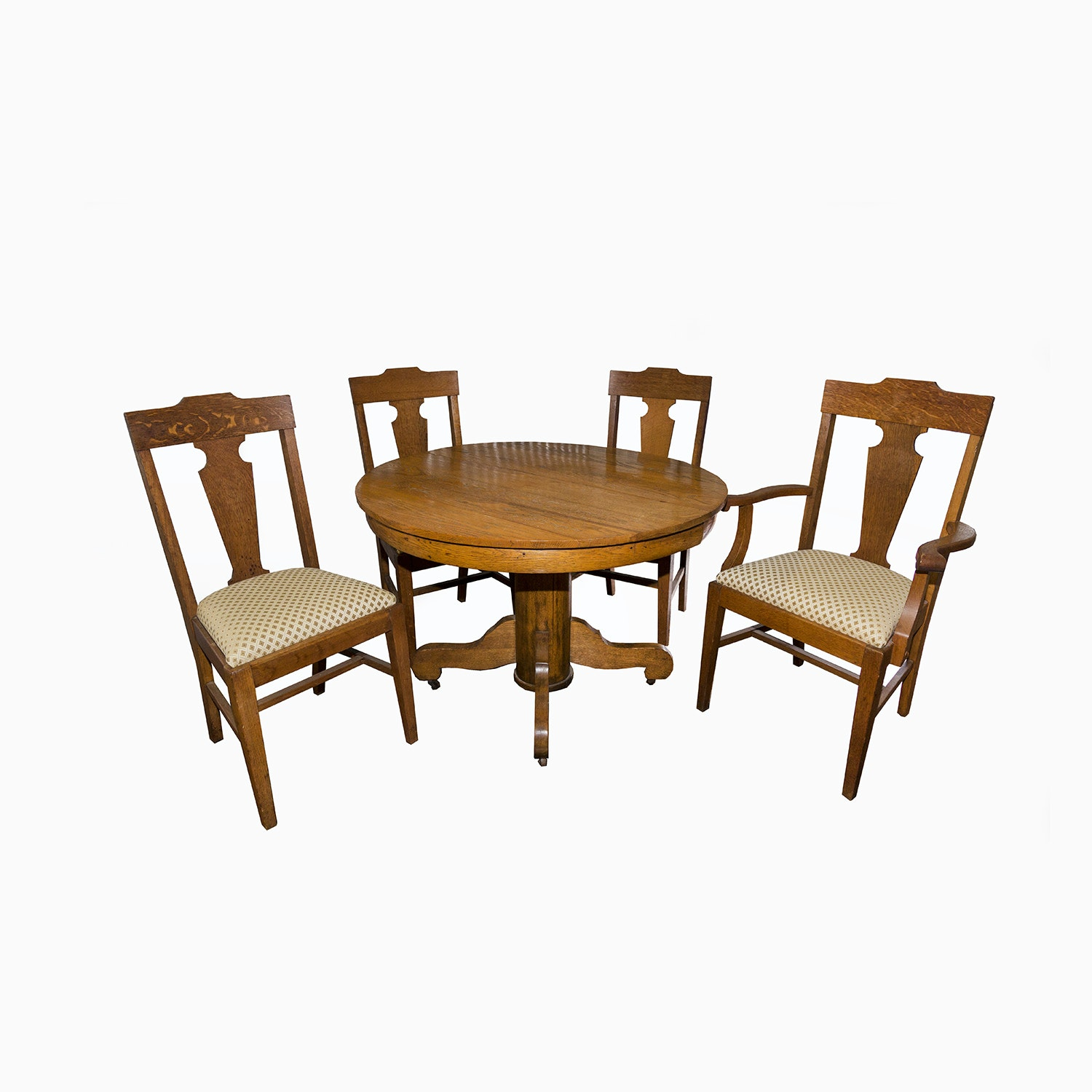 Antique Oak Pedestal Dining Table with Chairs