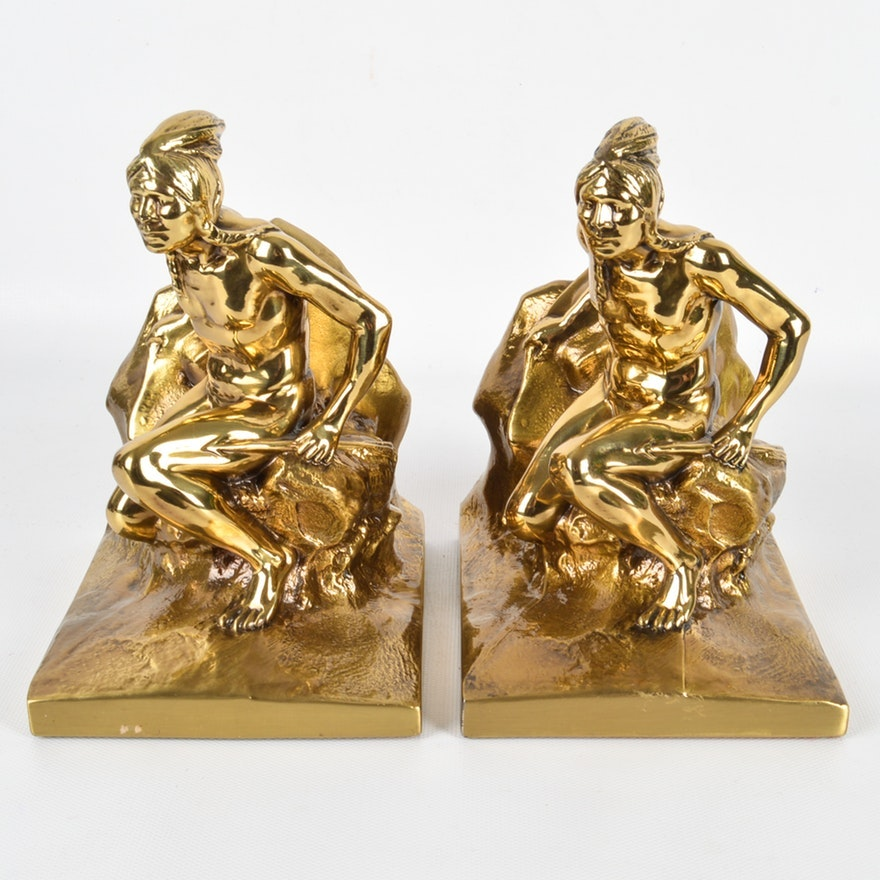 """Vintage Philadelphia """"Indian Scout"""" Brass Bookends"""