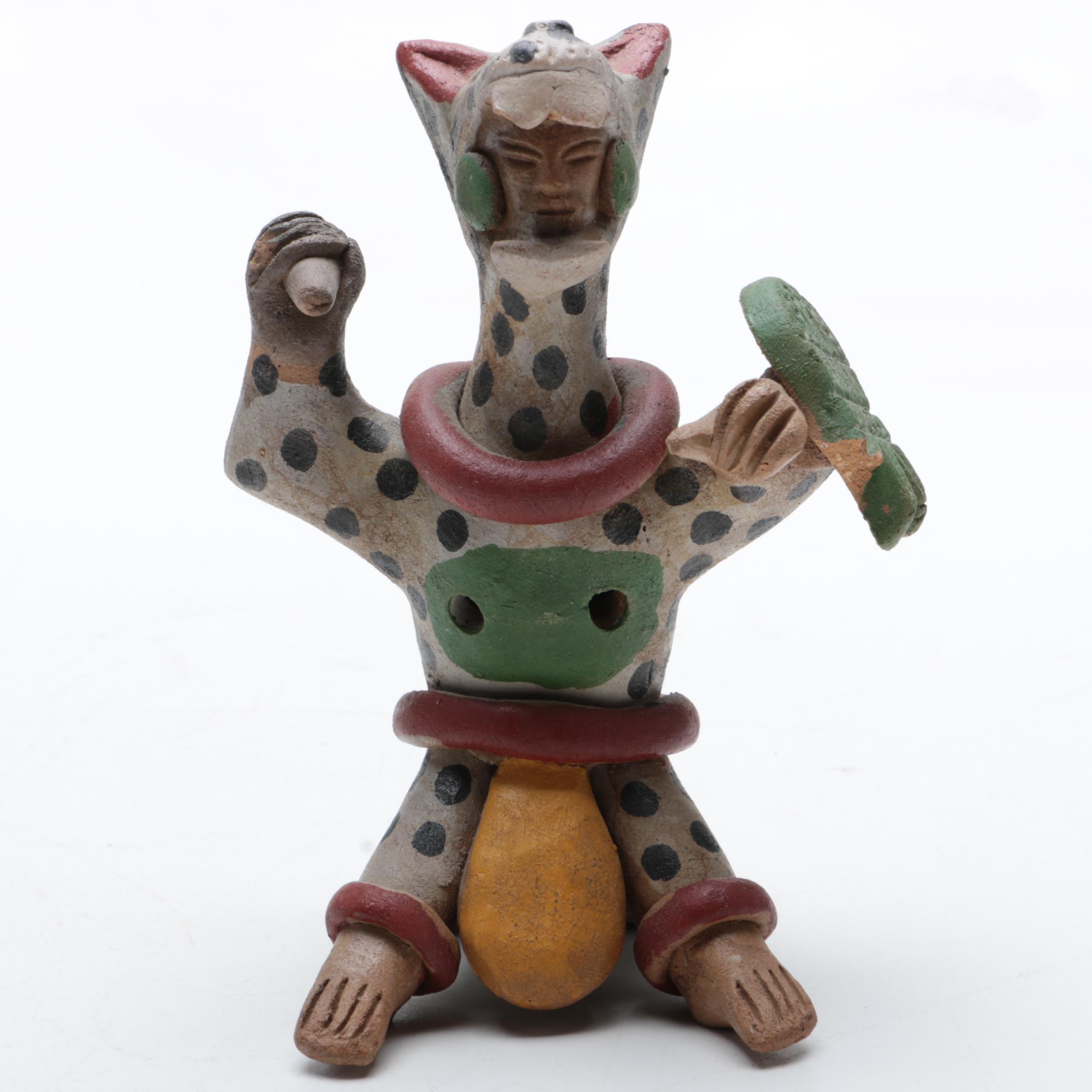 Aztec Inspired Jaguar Warrior Pottery Figurine