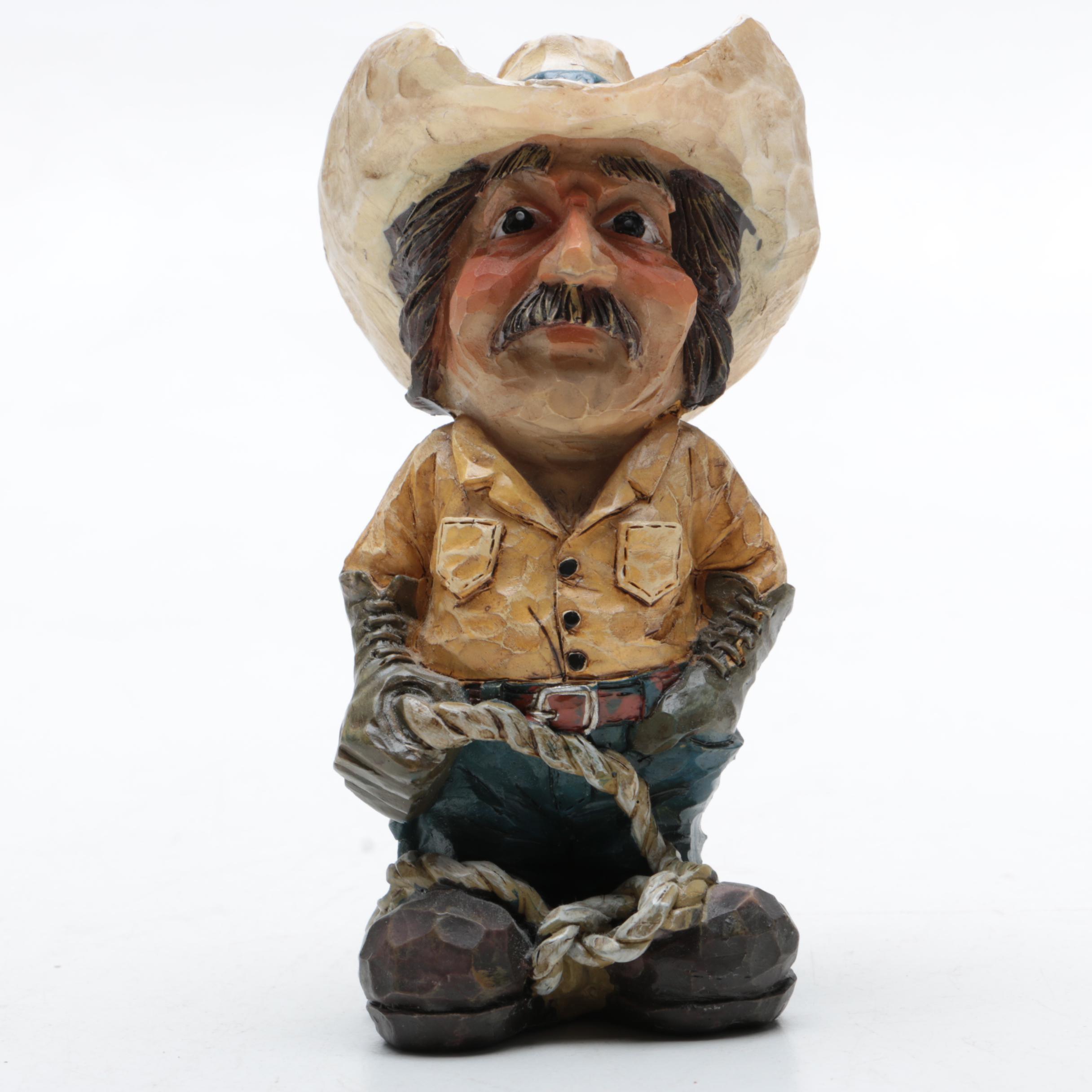 Carved Wood Cowboy Figurine