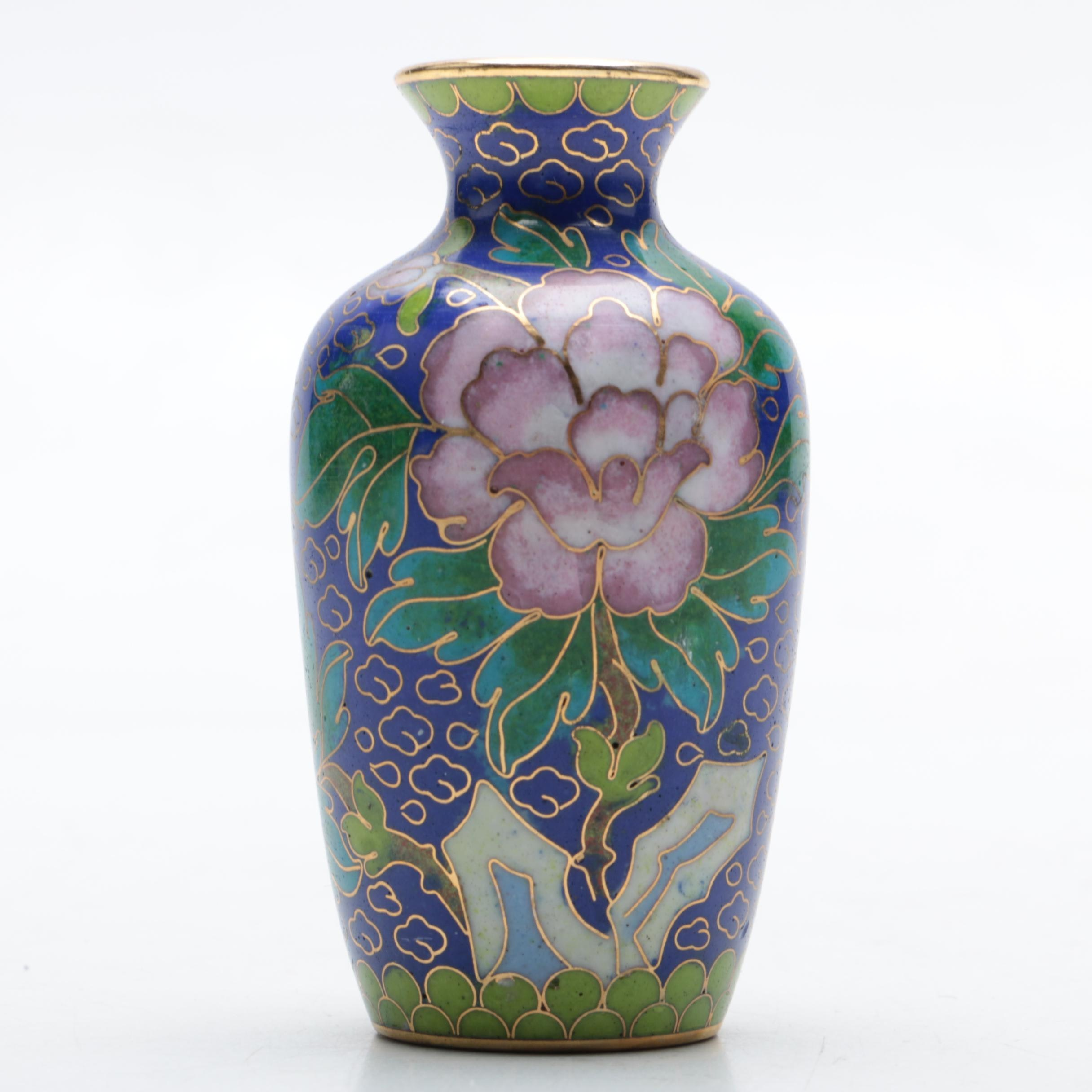 Asian-Inspired Cloisonné Poesy Vase