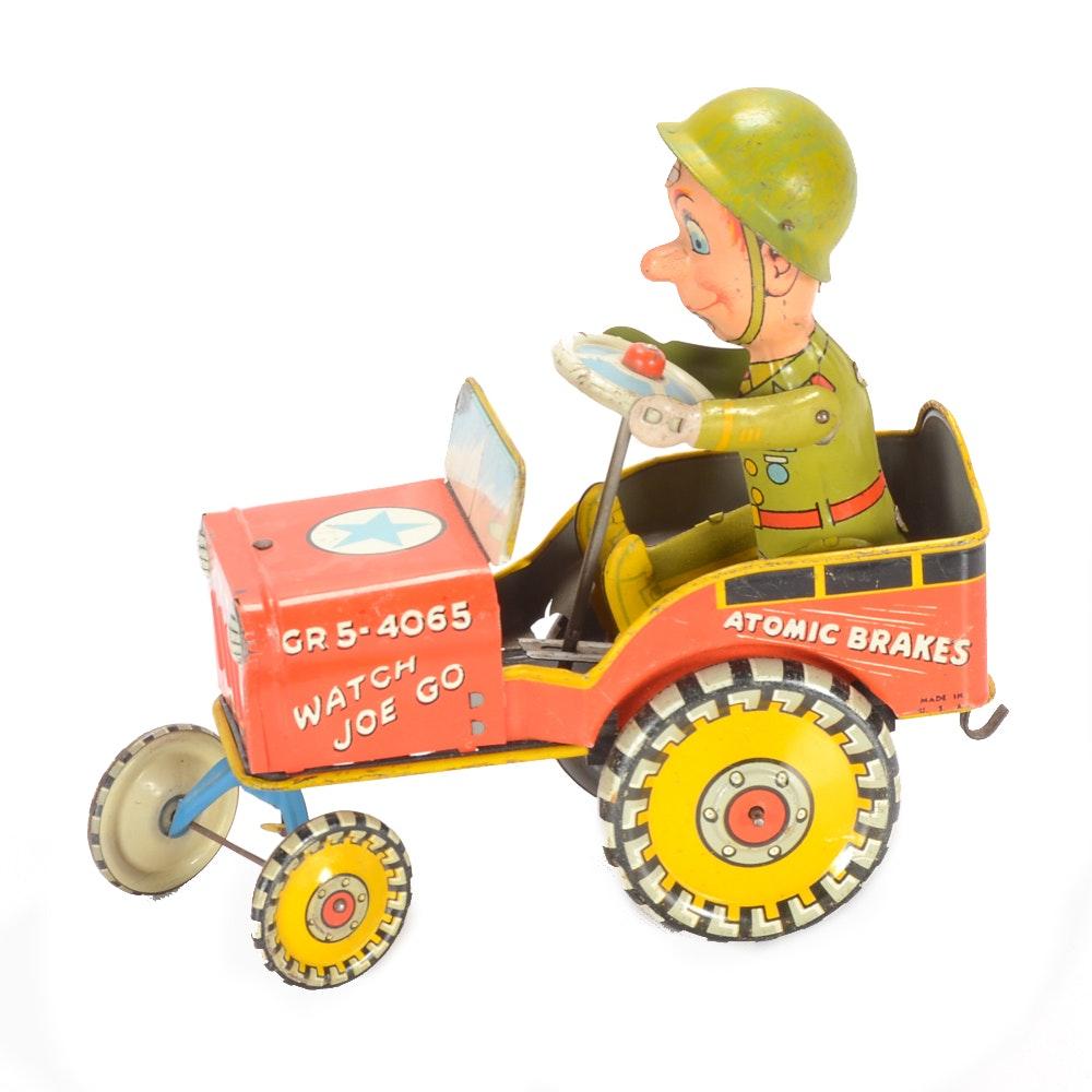 "1950s ""GI Joe Jouncing Jeep"" Wind-Up Tin Toy"