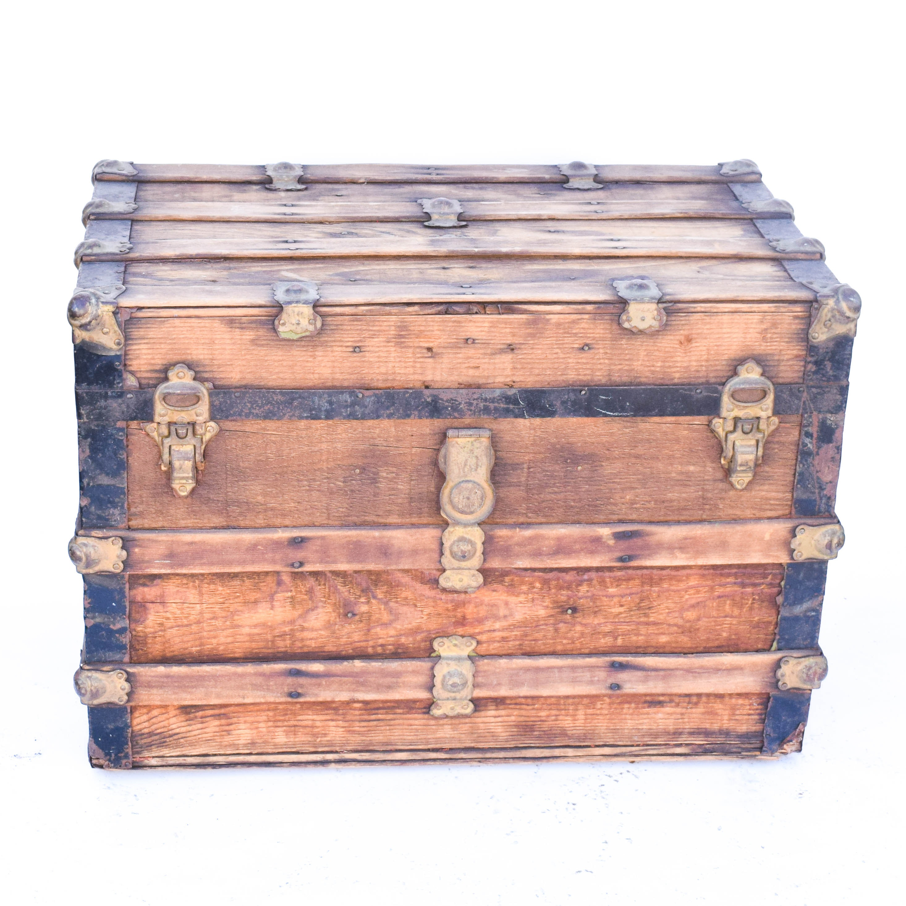 Antique Wooden Steamer Trunk With Leather Accents