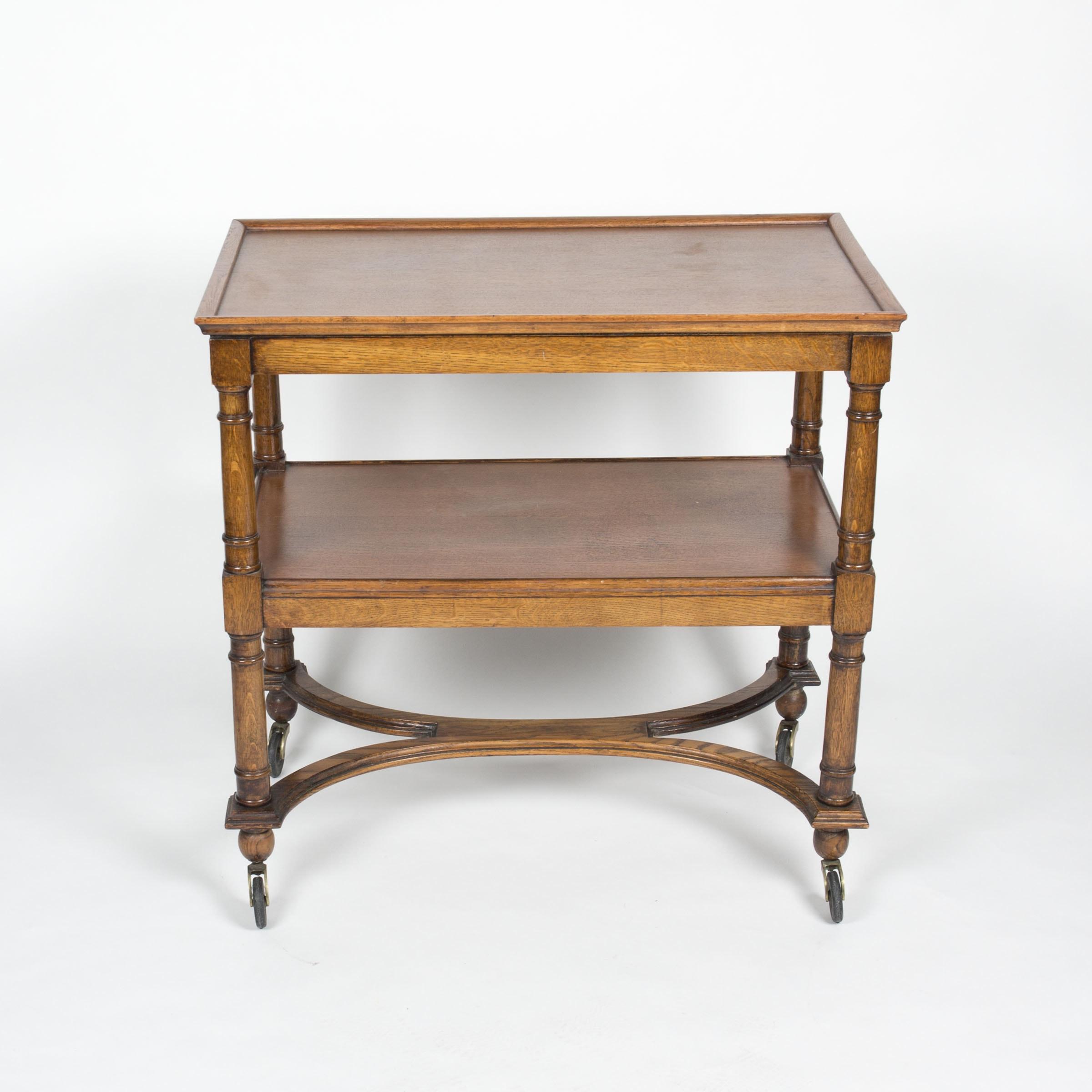 Vintage Oak Side Table on Wheels