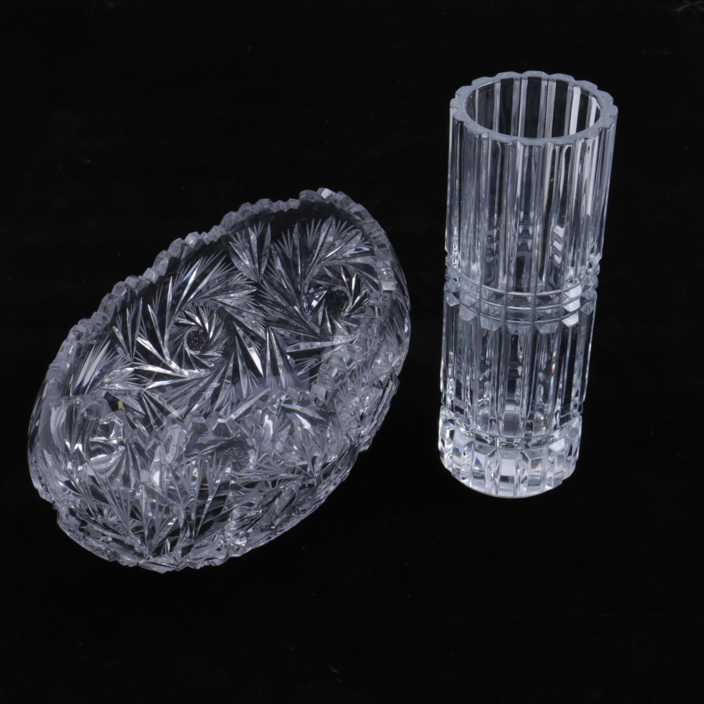 Vintage Wheel Cut Crystal Bowl and Pressed Glass Vase