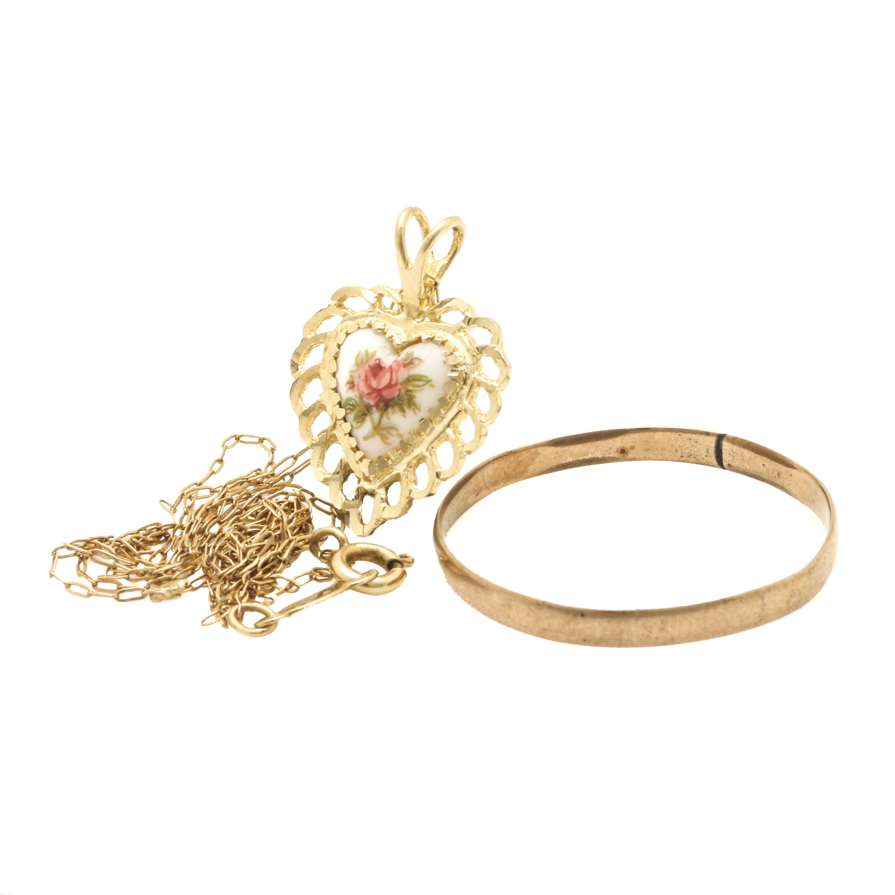 8K, 10K, and 14K Yellow Gold Ring and Pendant Necklace Selection