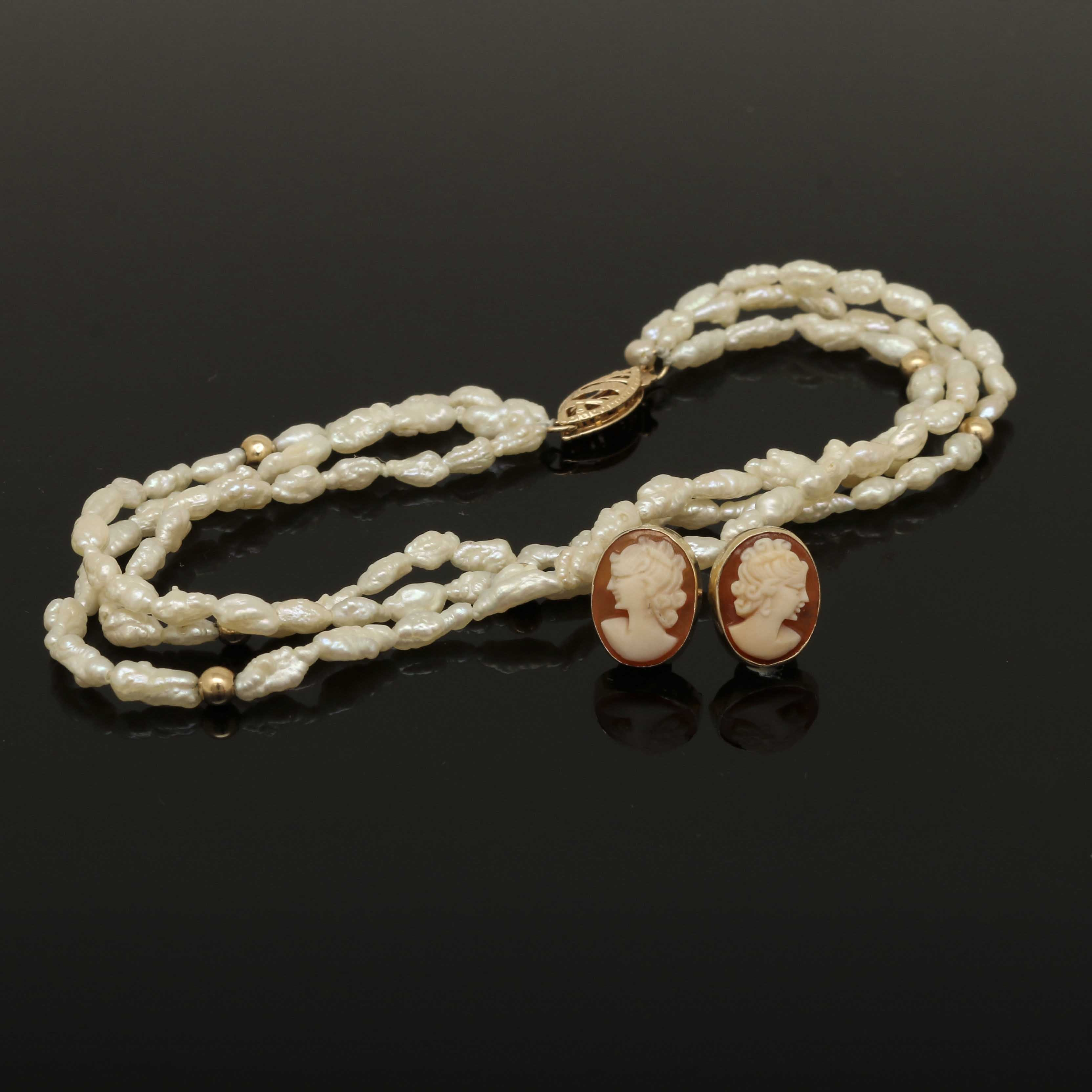 14K Yellow Gold Cameo Earrings and Cultured Pearl Bracelet
