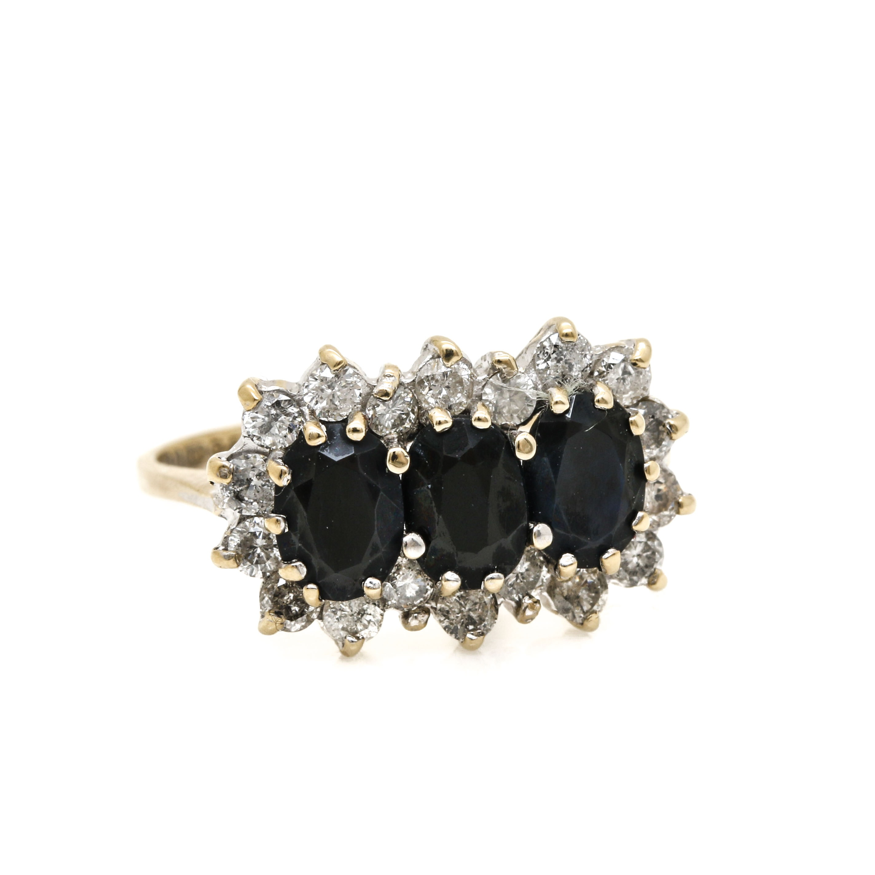 9K Yellow Gold Sapphire and Diamond Ring