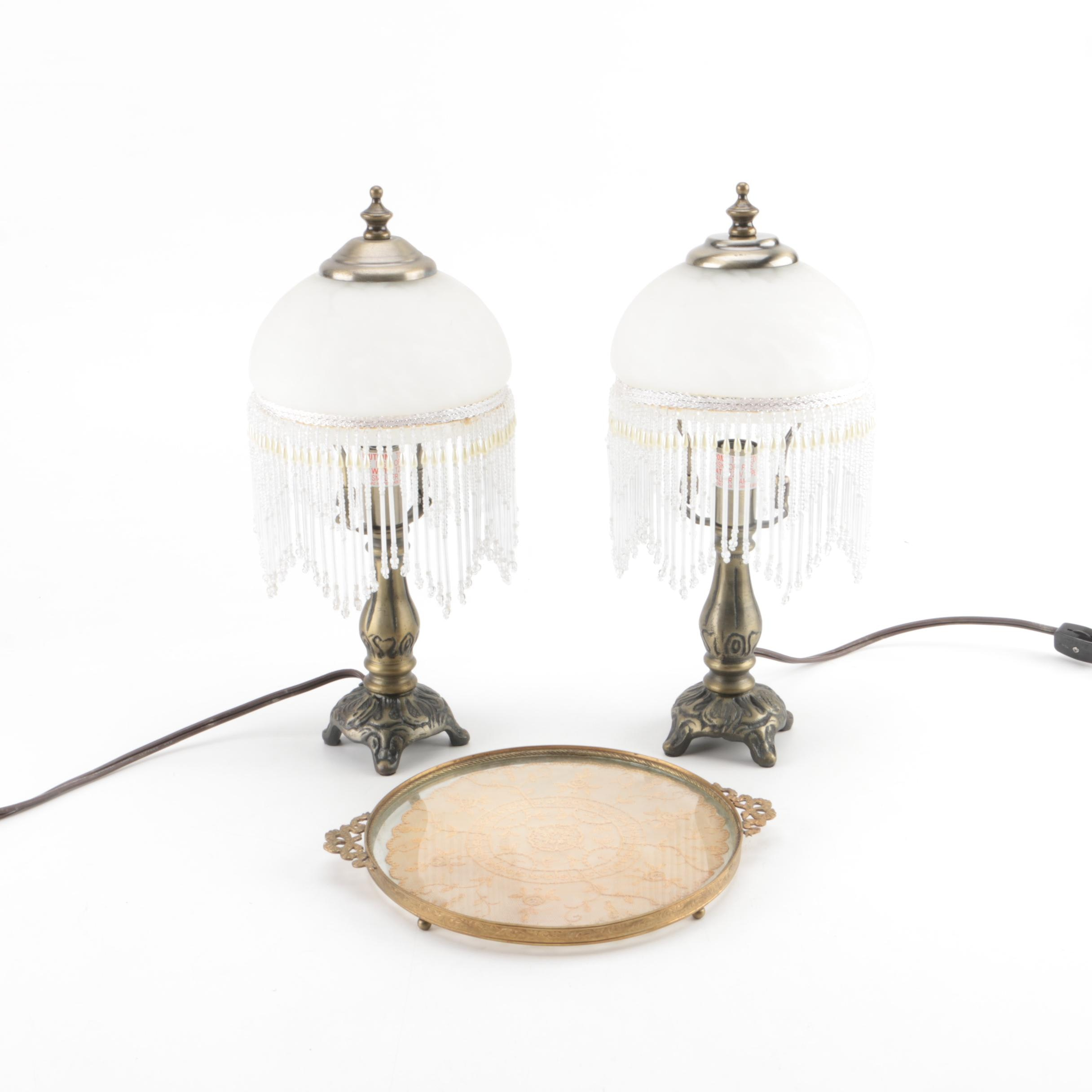 Pair of Brass Accent Lamps and Glass Tray
