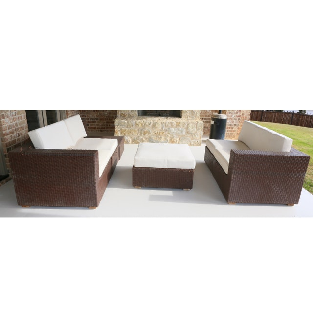 Wicker Patio Sectional with Oversized Ottoman