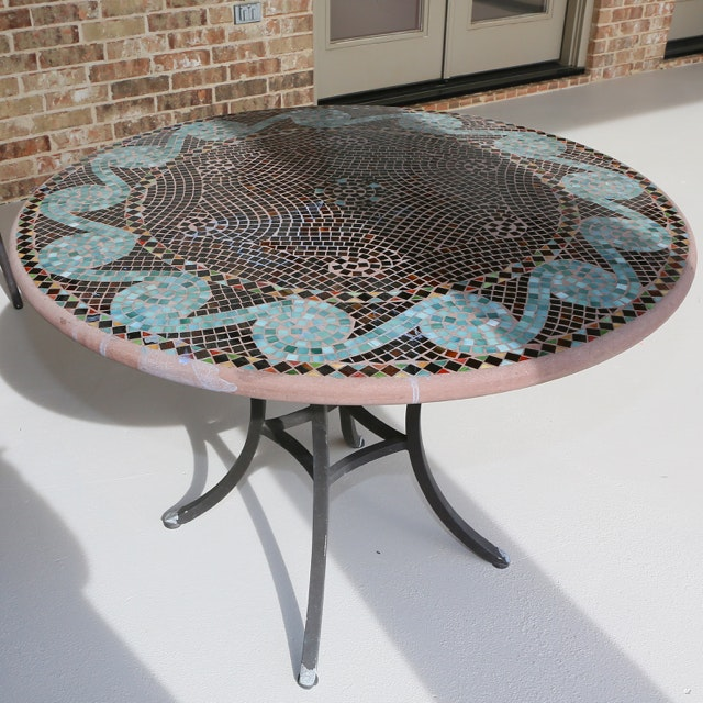 Mosaic Top Patio Dining Table
