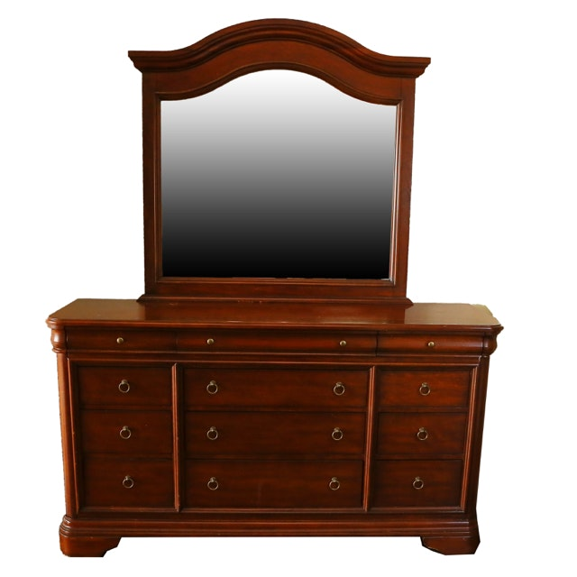Traditional Cherry Chest of Drawers with Mirror