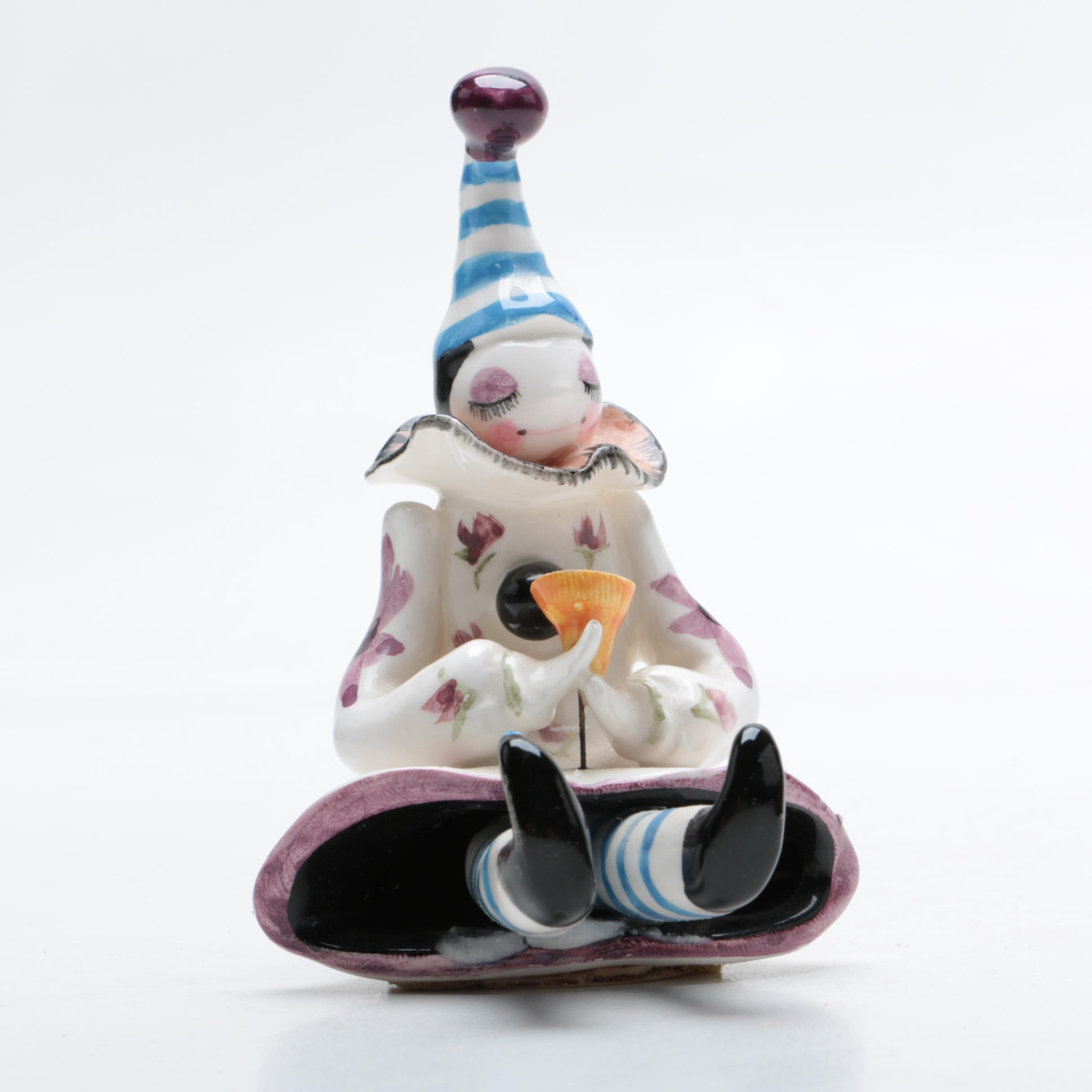 Handcrafted Earthenware Clown Figurine by Schmid
