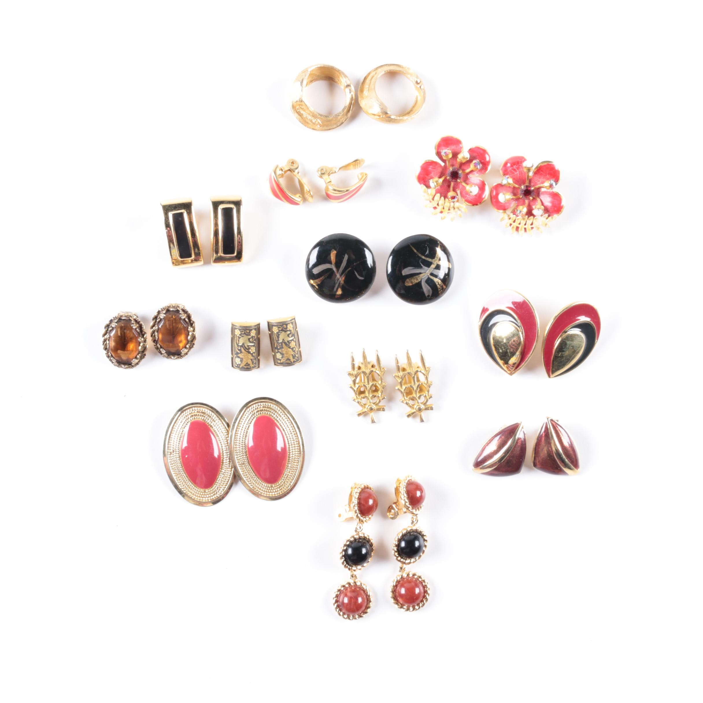 Vintage Gold-Toned Clip-On Earrings