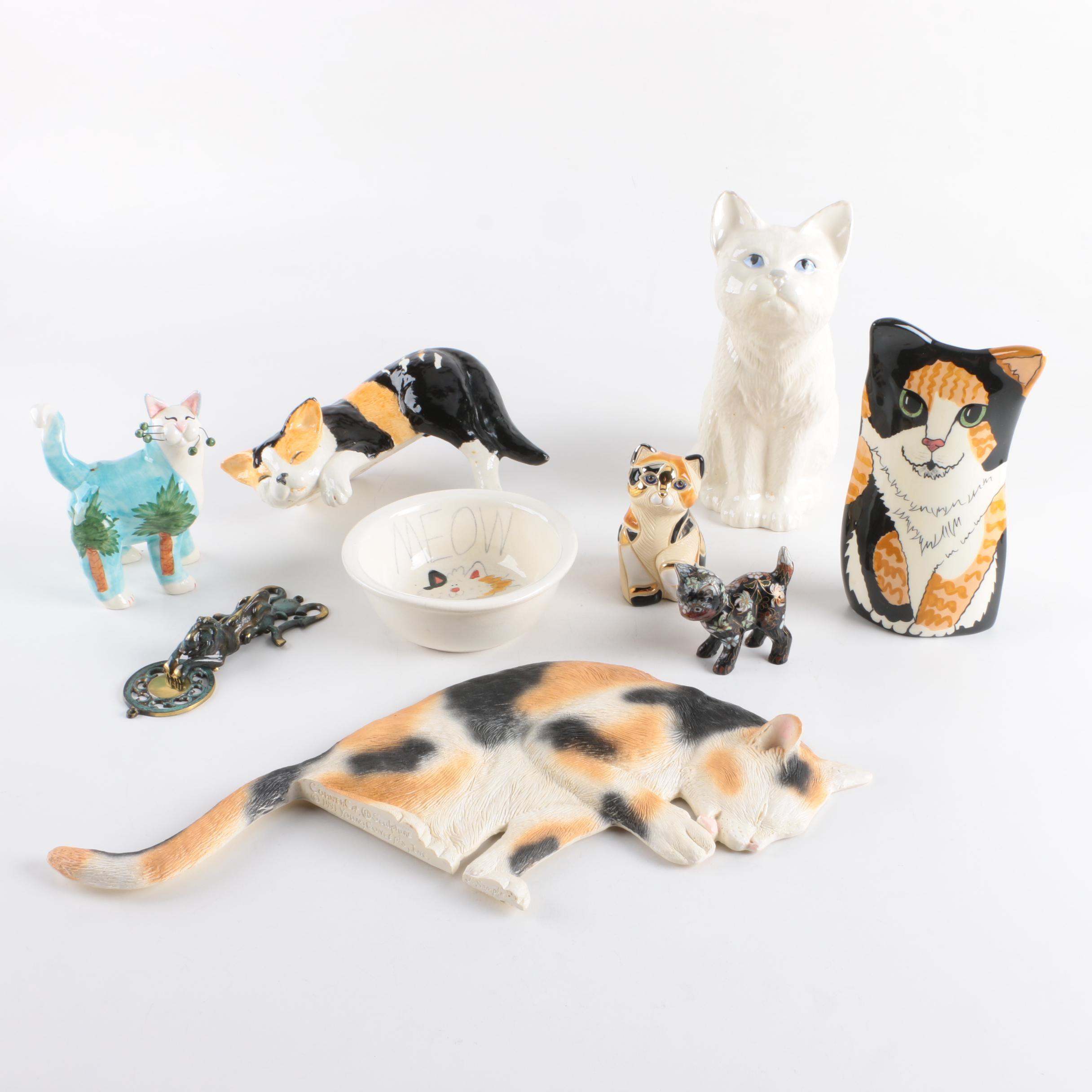 Feline Themed Figurines, Door Knocker and Bowl