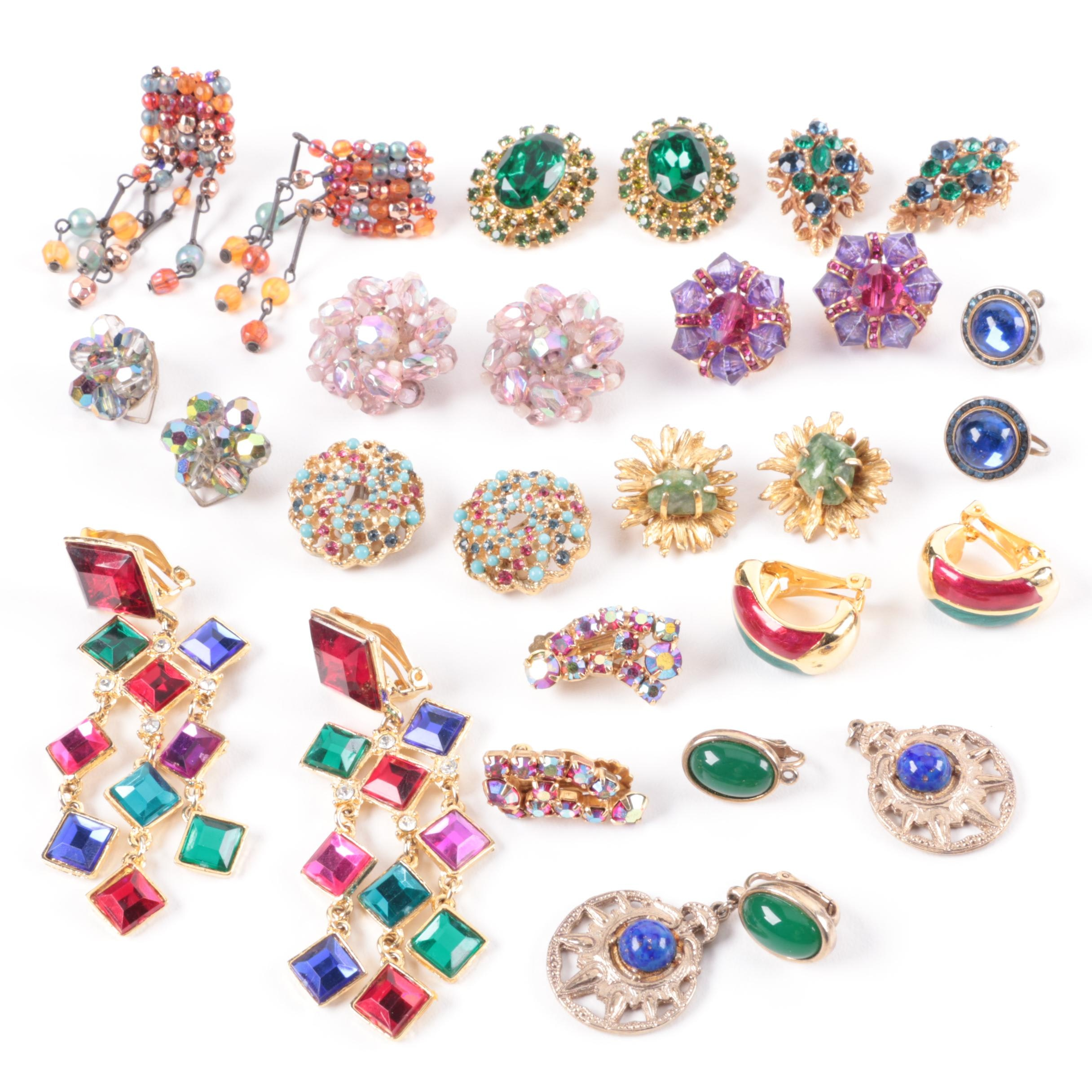 Colorful Earring Assortment Including BSK, Coro and Hobe