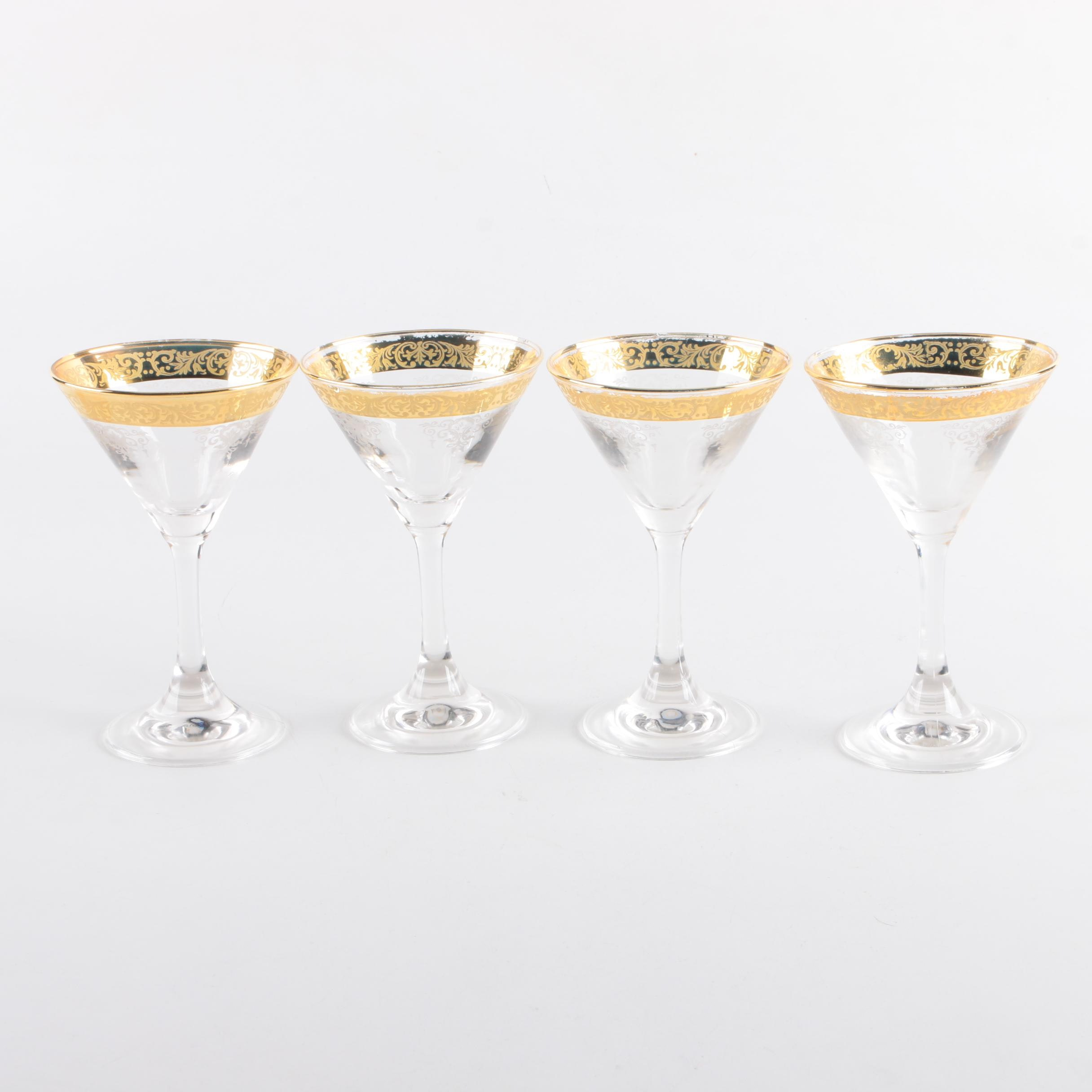 Cocktail Glasses with Encrusted Gilded Rims