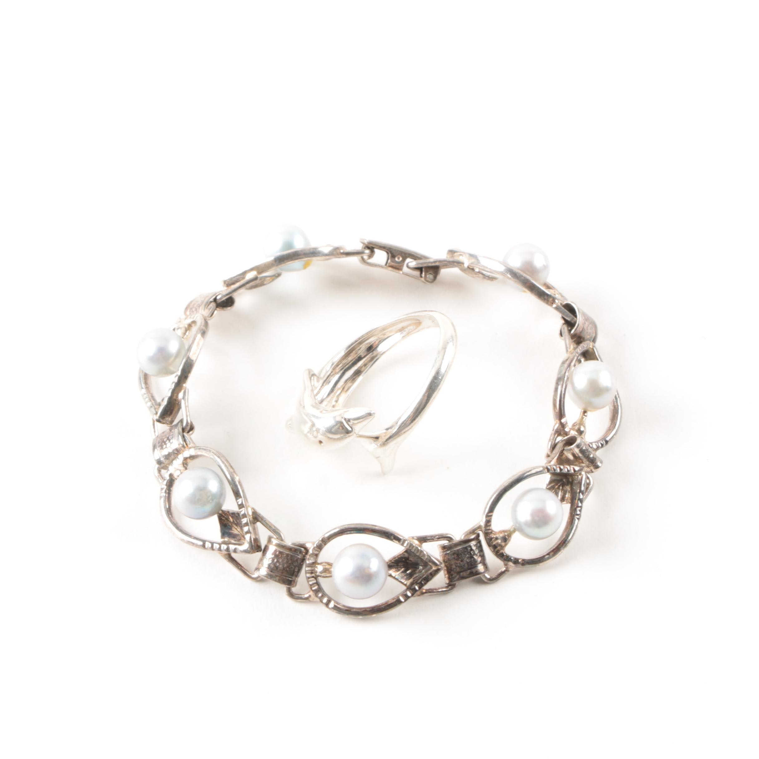 Sterling Silver Bracelet and Ring