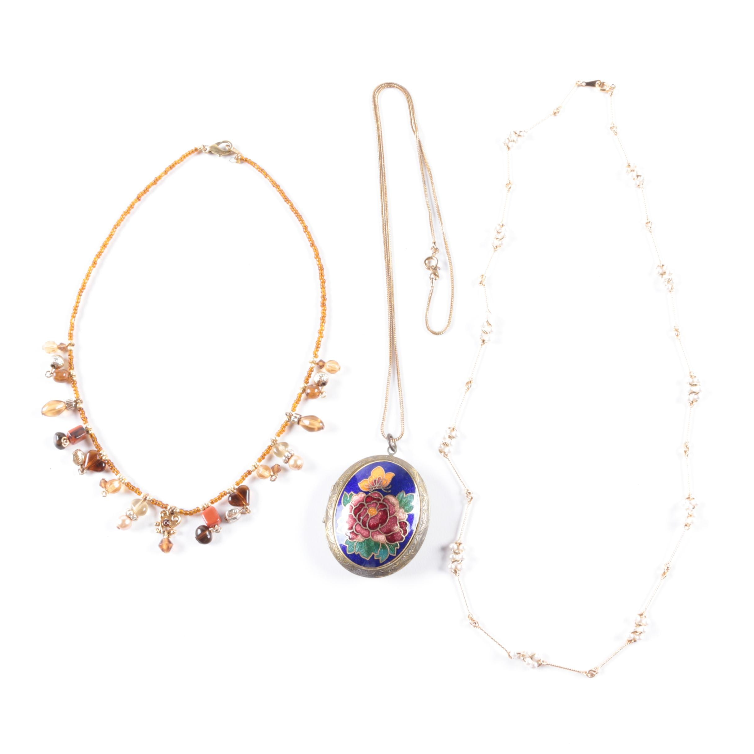 Cloisonne Locket and Other Costume Necklaces