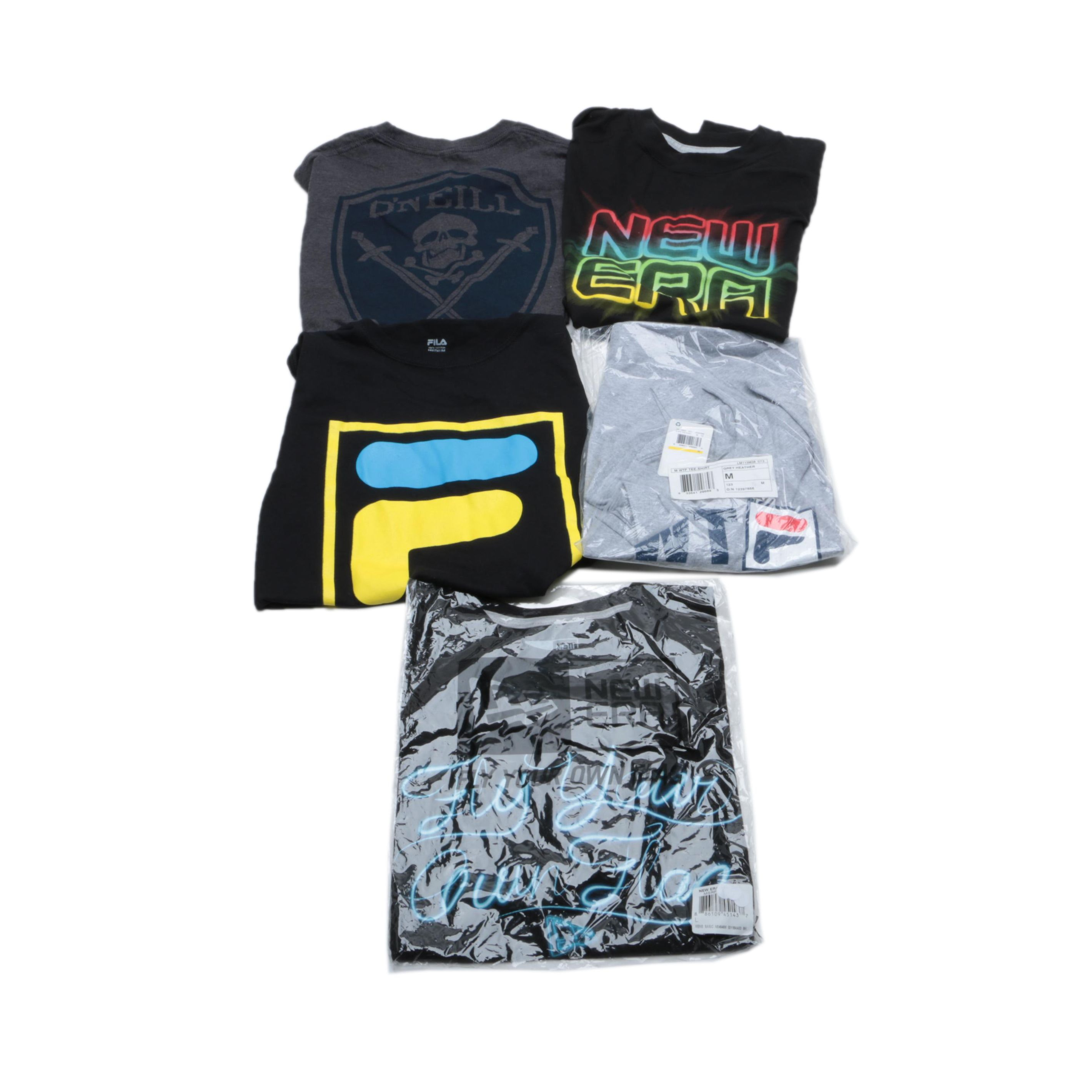 Men's New Era, Fila and O'Neill Brand T-Shirts