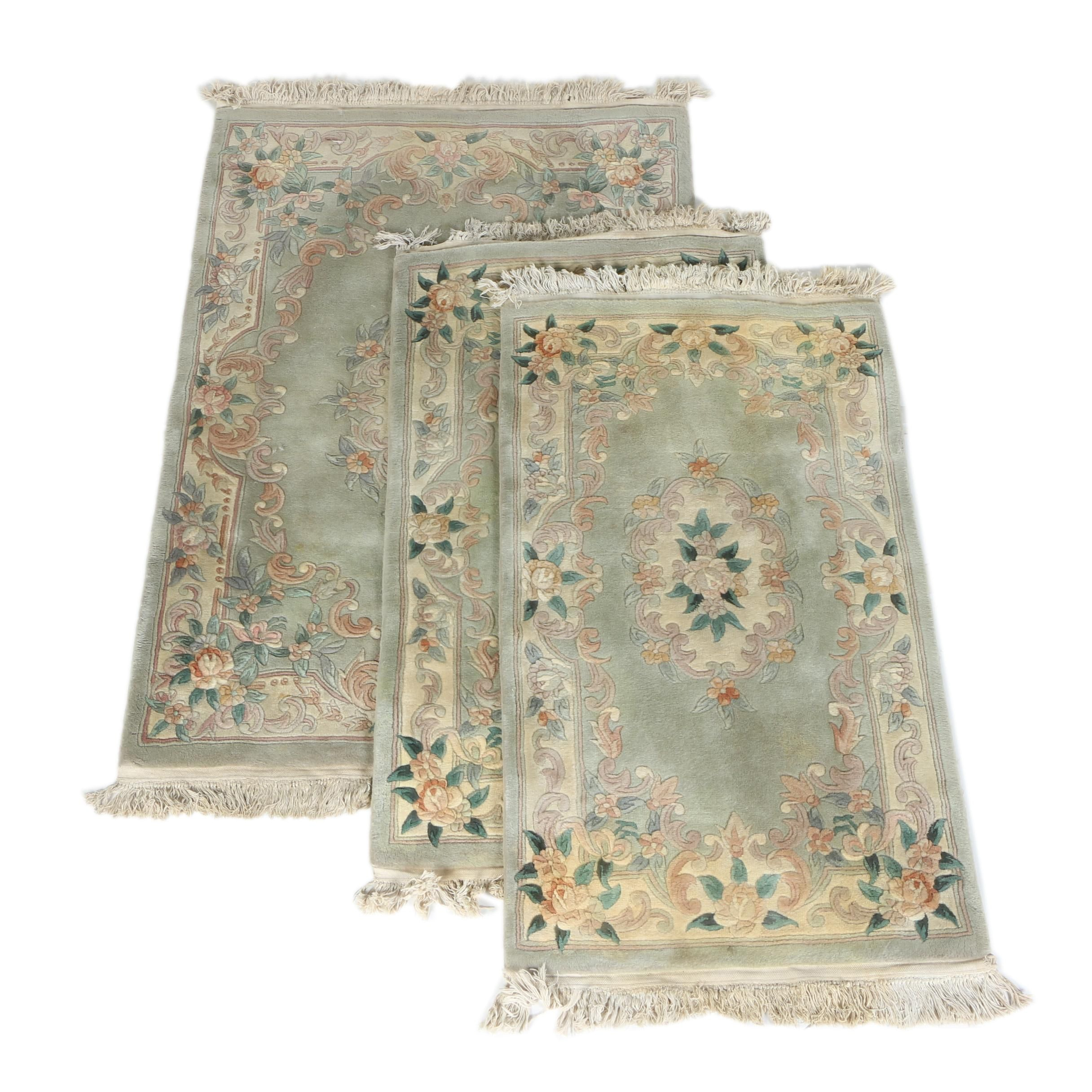 Hand-Knotted Chinese Floral Carved Wool Area and Accent Rugs