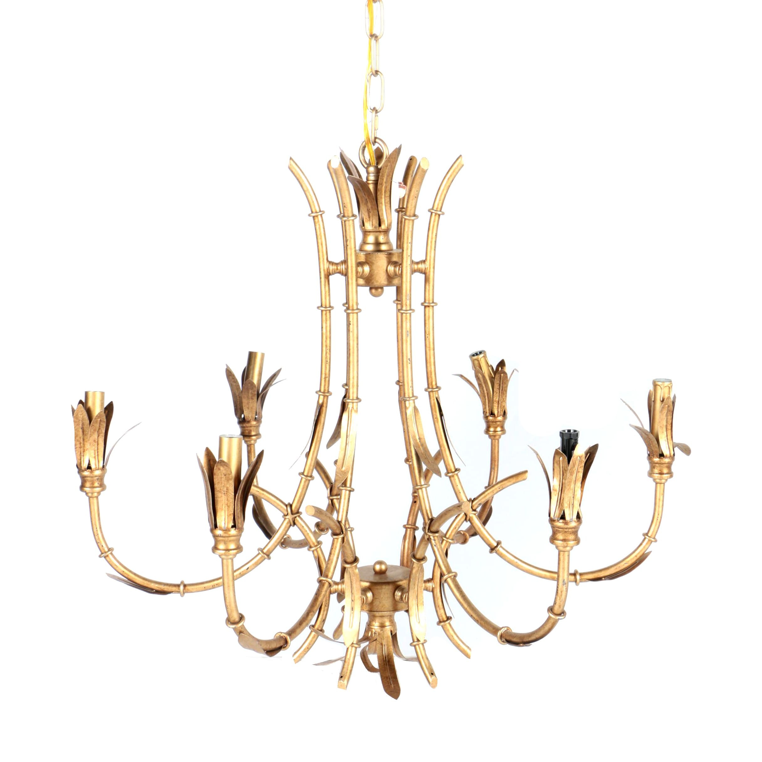 Bamboo Inspired Gold Tone Metal Chandelier