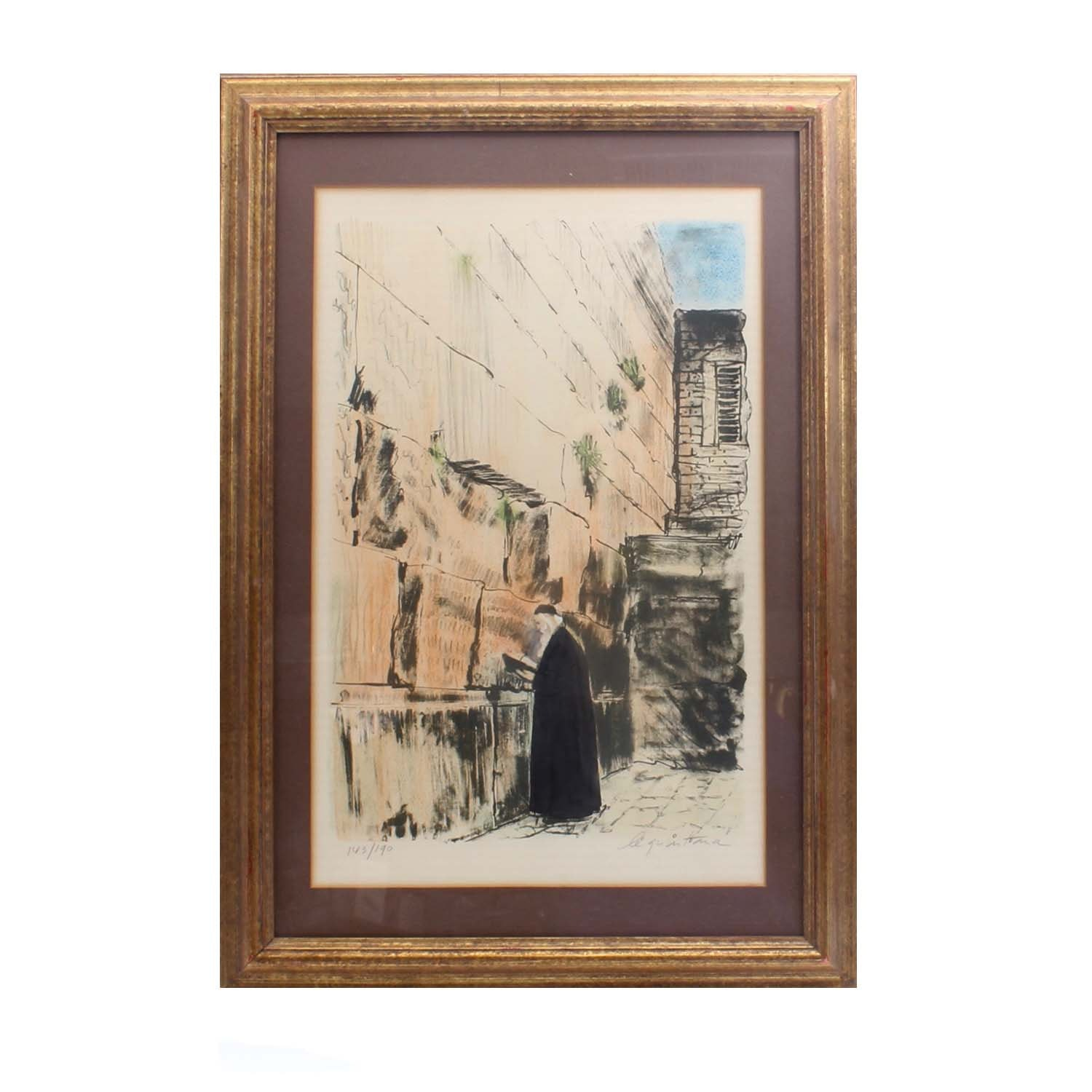 "Signed Le Quintana Limited Edition Colored Lithograph ""Wailing Wall"""
