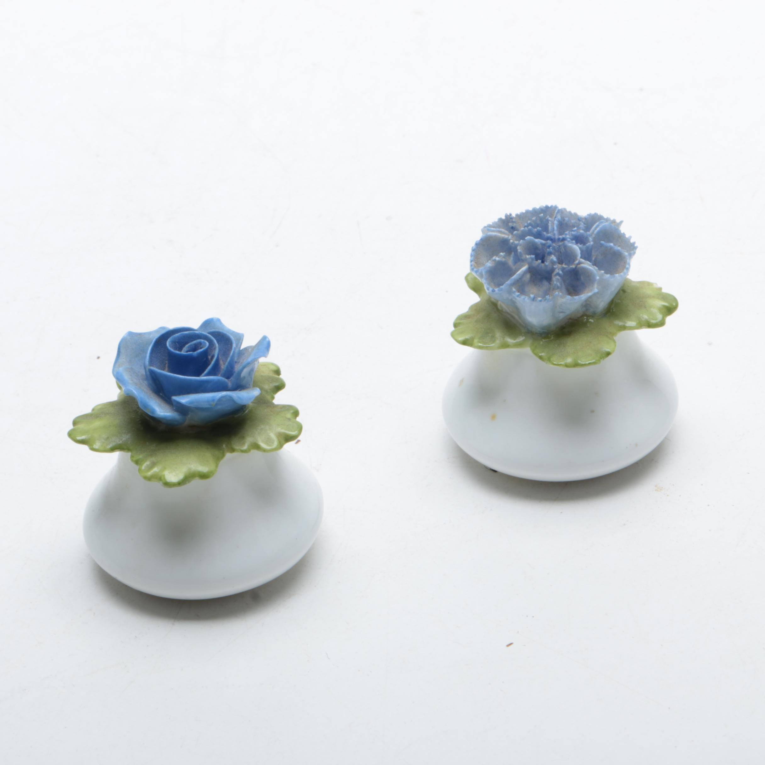 English Porcelain Floral Relief Condiment Shakers