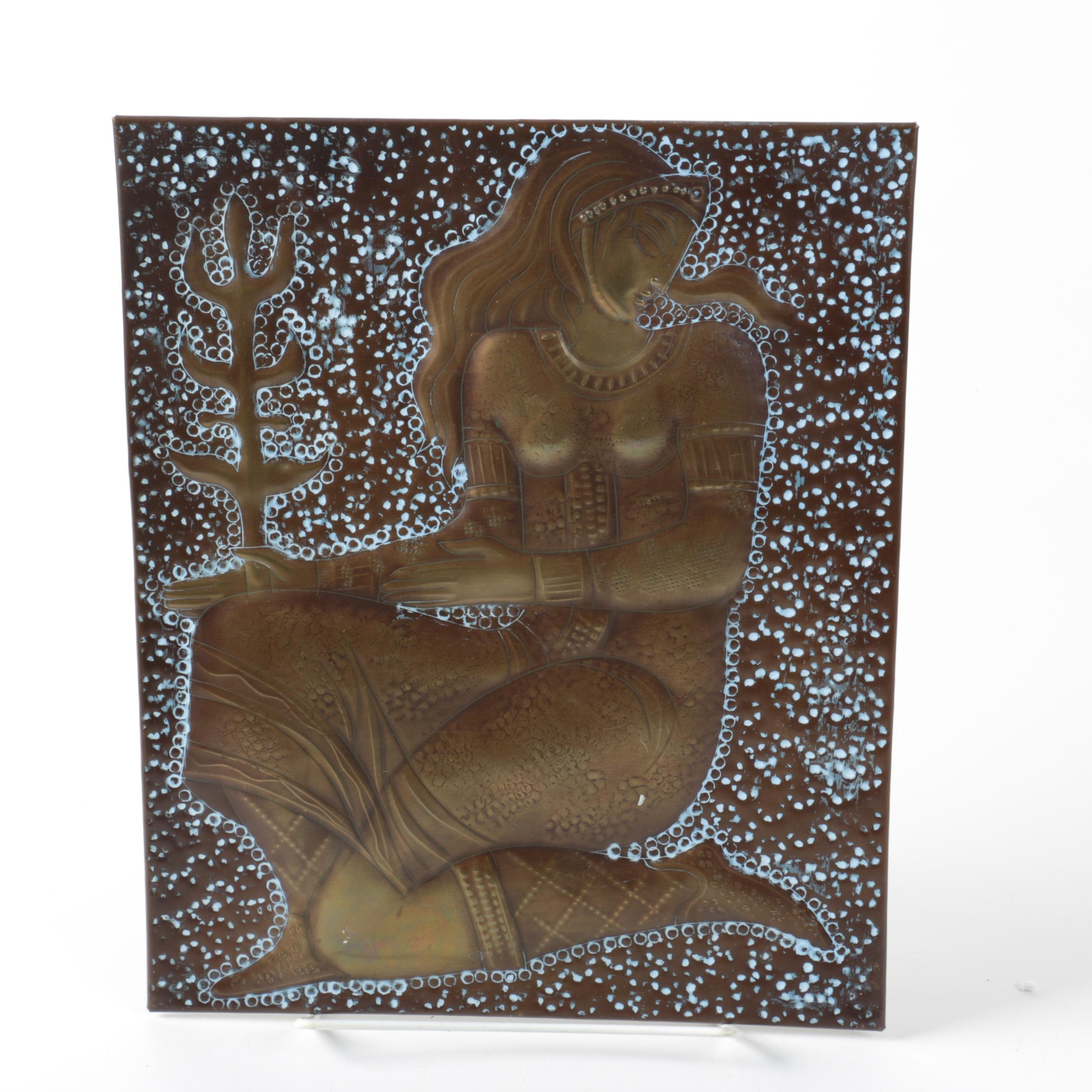 Russian Hammered Brass Wall Plaque of Female Figure