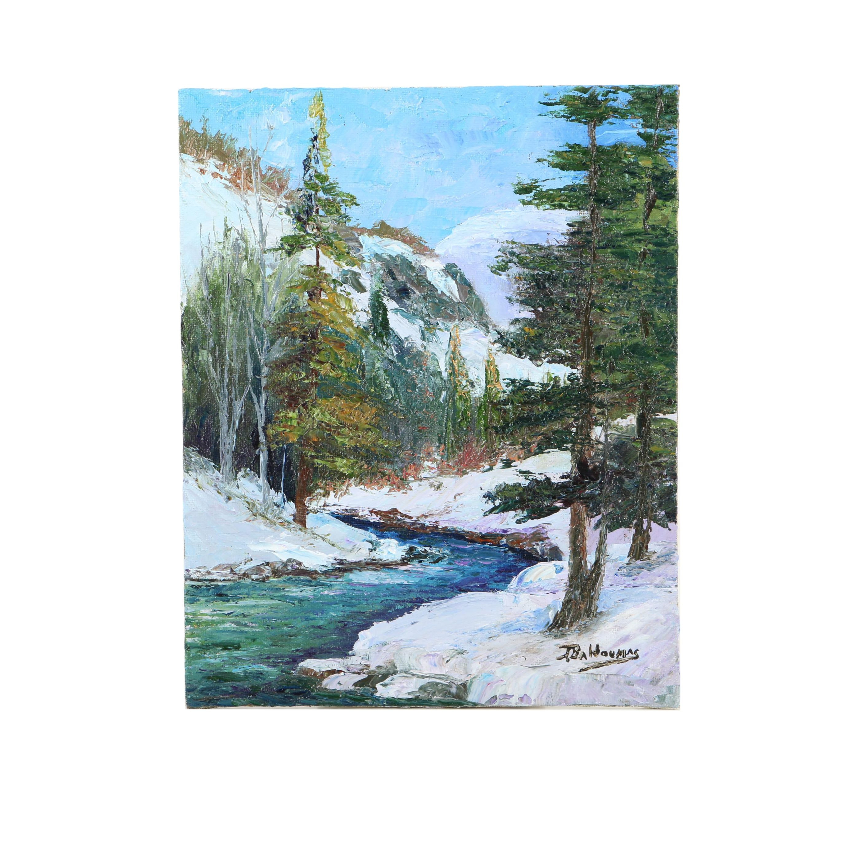 "James Baldoumas Oil Painting ""Mountain Stream"""