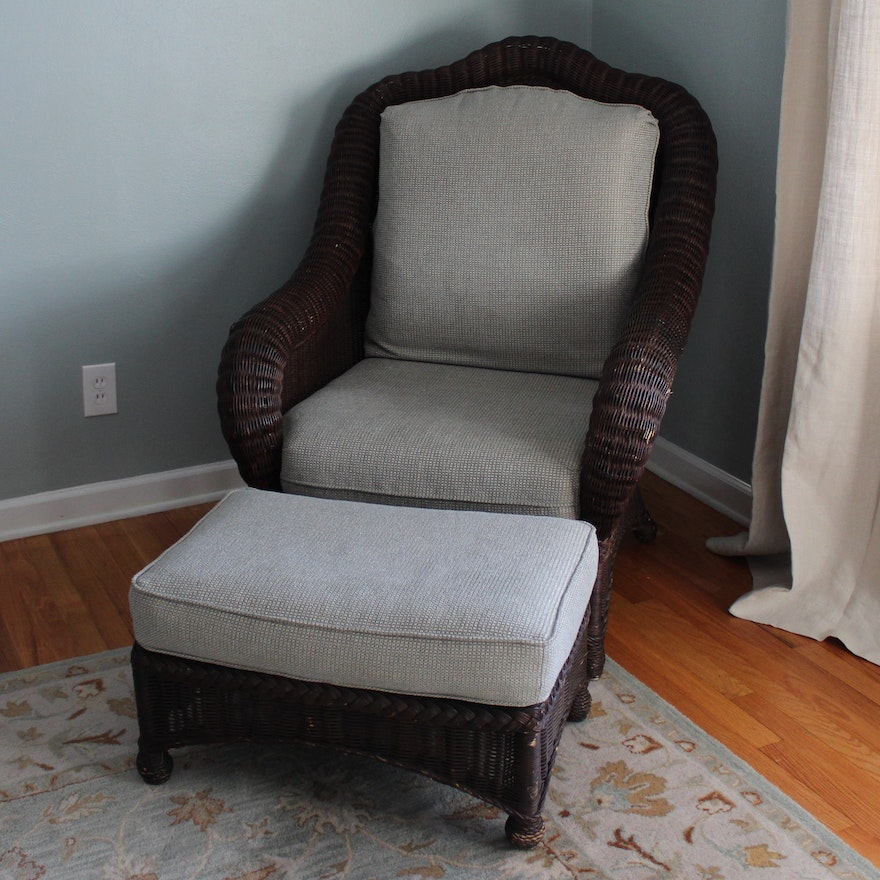 Wicker Chair And Ottoman By Ethan Allen