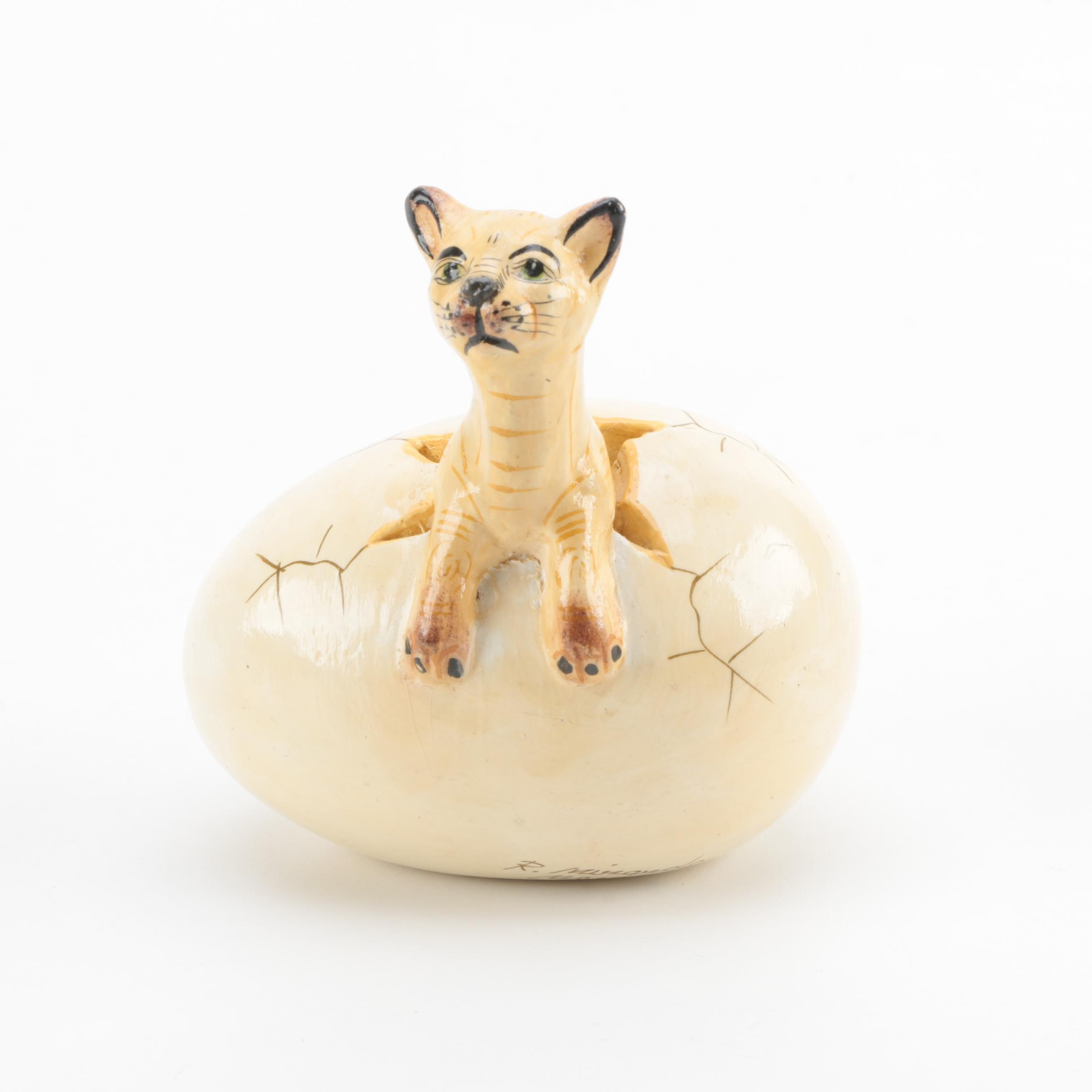 R. Miranda Signed Mexican Egg-Hatchling Cat Figurine