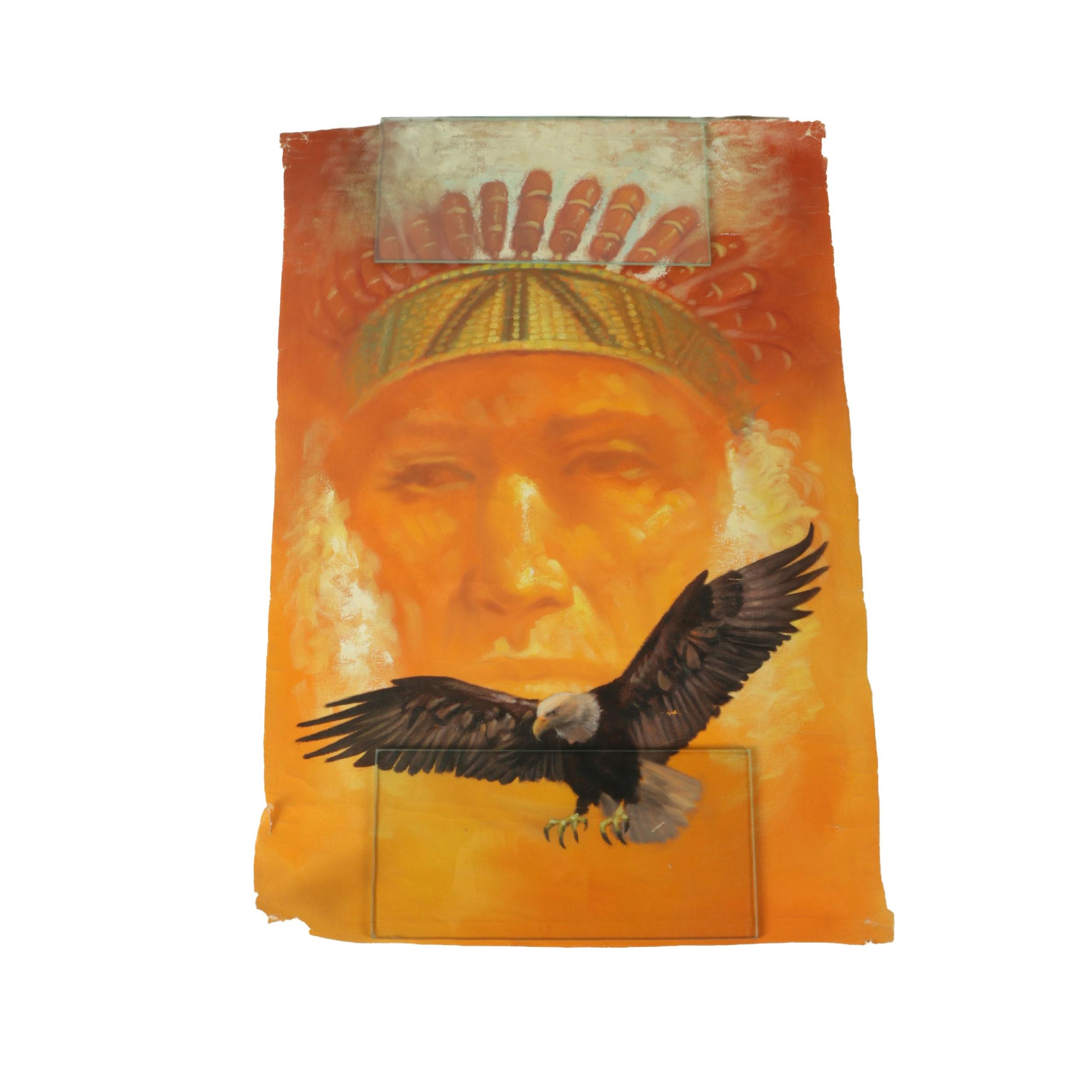 Mario Vargas Cuellar Oil Painting on Canvas of Native American Figure and Eagle