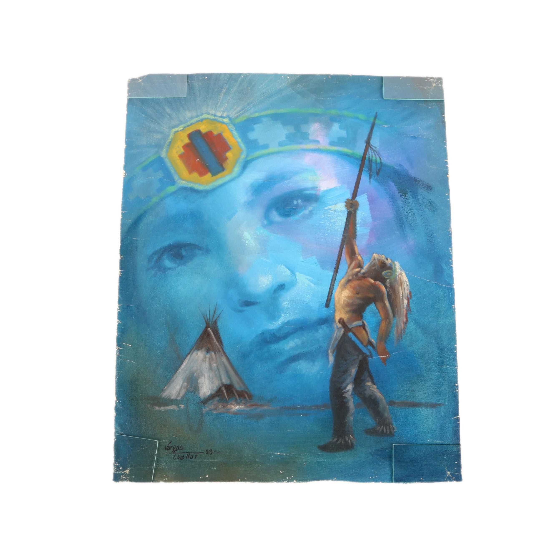 Mario Vargas Cuellar 2003 Oil Painting on Canvas of Native American Figure