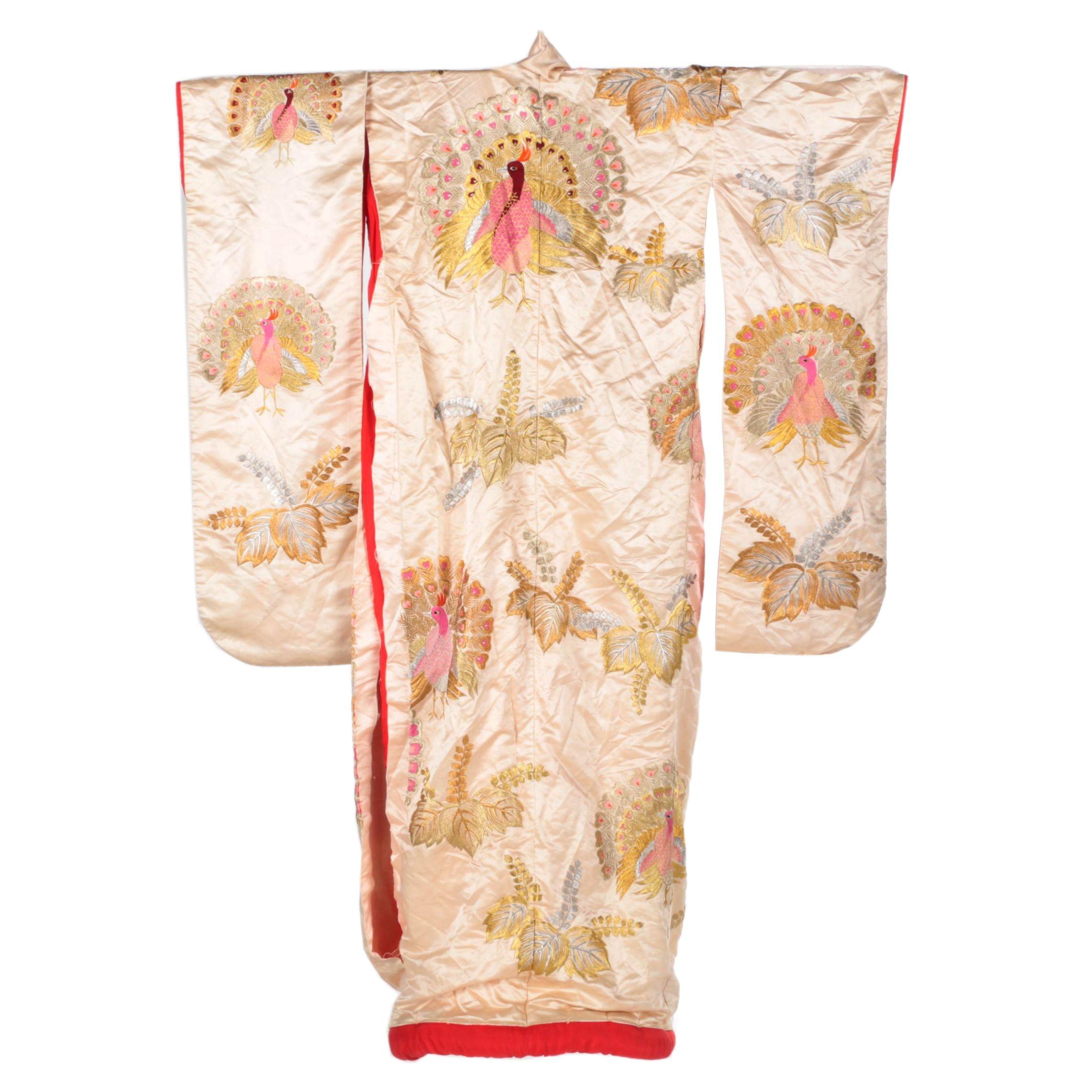 Early 20th Century Vintage Embroidered Silk Satin Uchikake Wedding Kimono