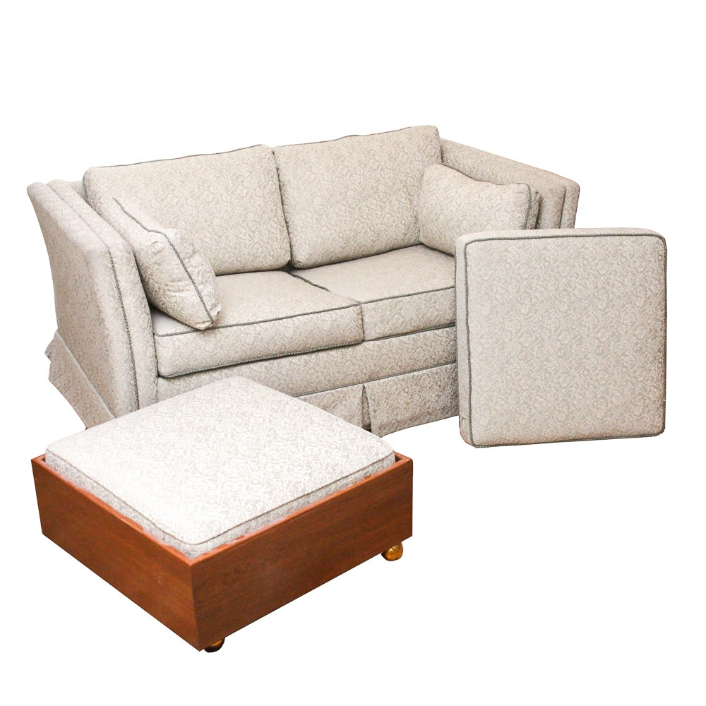 White Brocade Sleeper Sofa and Ottoman