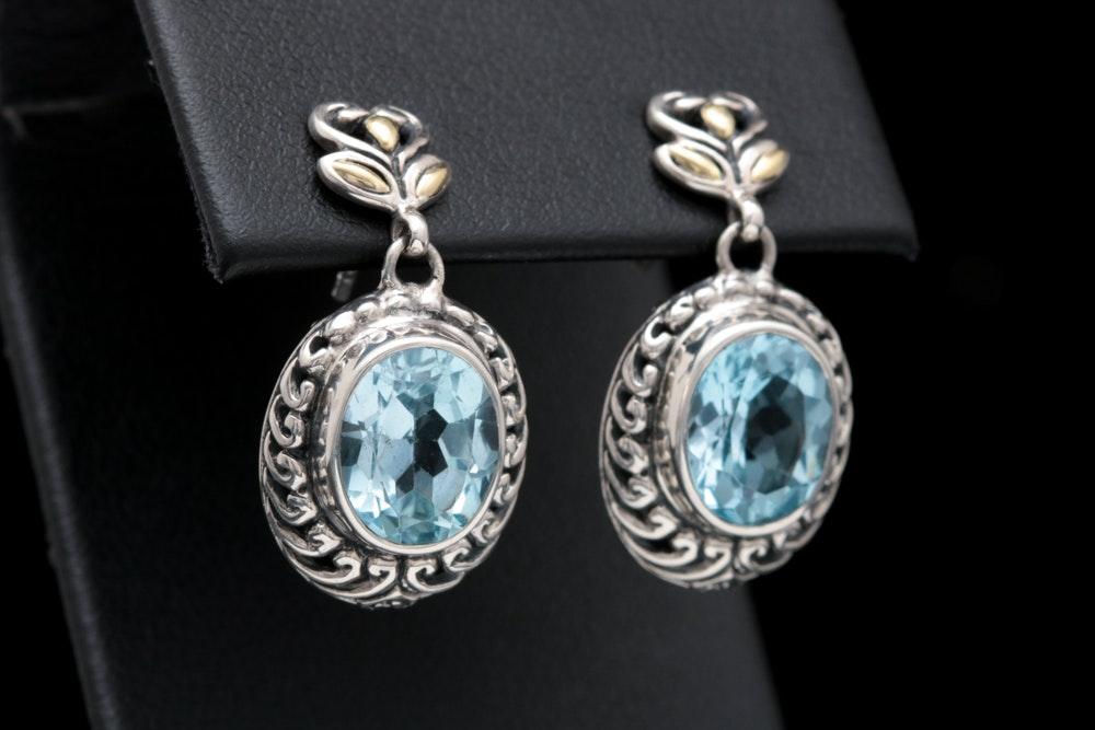 Robert Manse Sterling Silver, 18K Yellow Gold and Blue Topaz Dangle Earrings