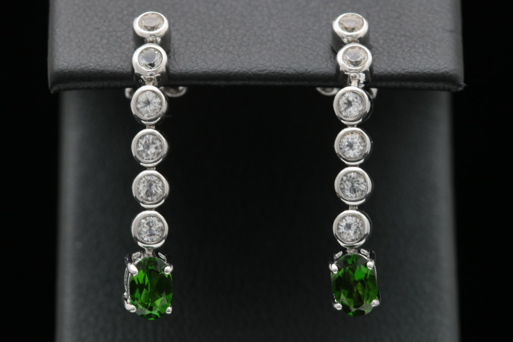 Sterling Silver, Chrome Diopside and White Topaz Dangle Earrings