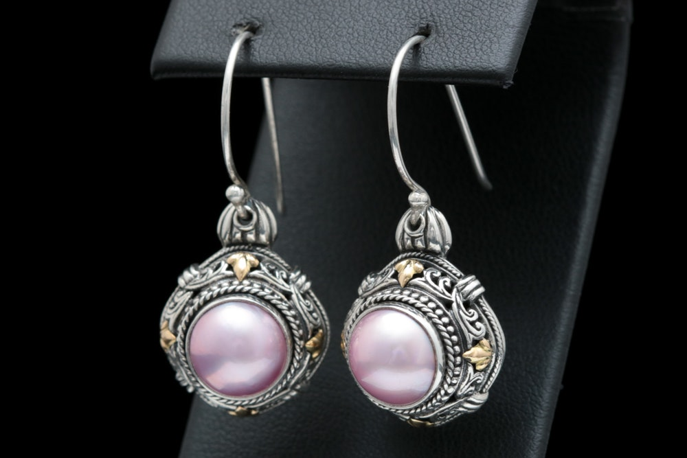Robert Manse Sterling Silver, 18K Yellow Gold and Pink Mabé Pearl Earrings