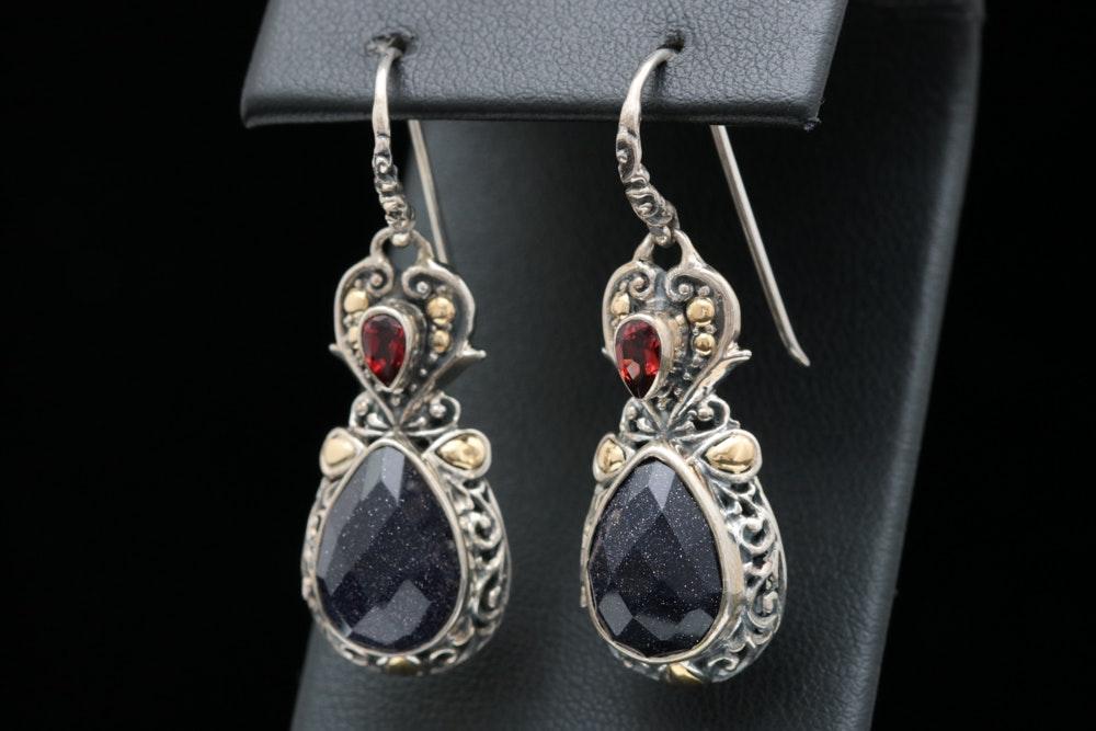 Robert Manse Sterling Silver, 18K Gold, Goldtone Glass and Garnet Earrings
